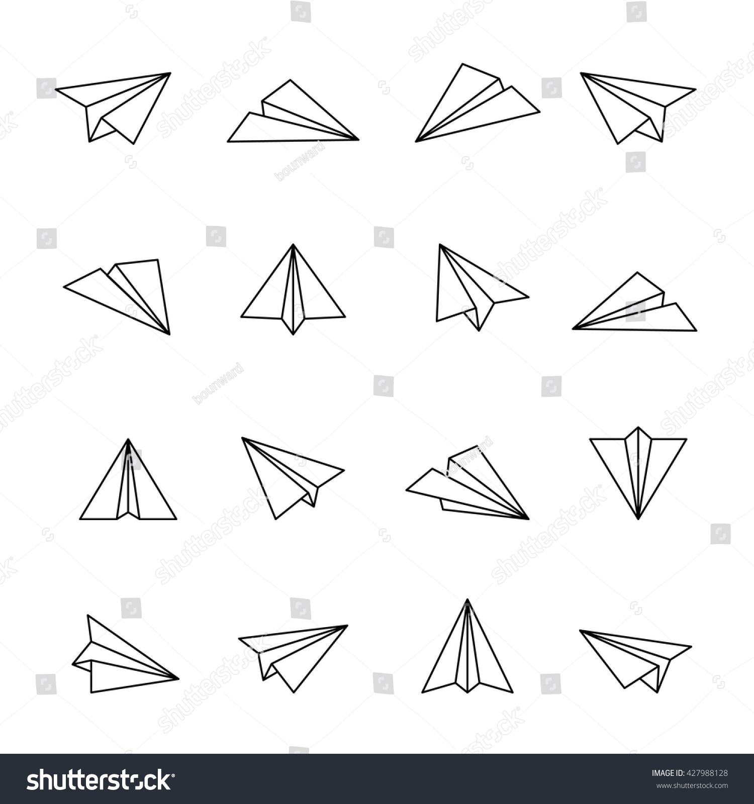 Paper Plane Icon Outline Icons Air Stock Vector 427988128 ...