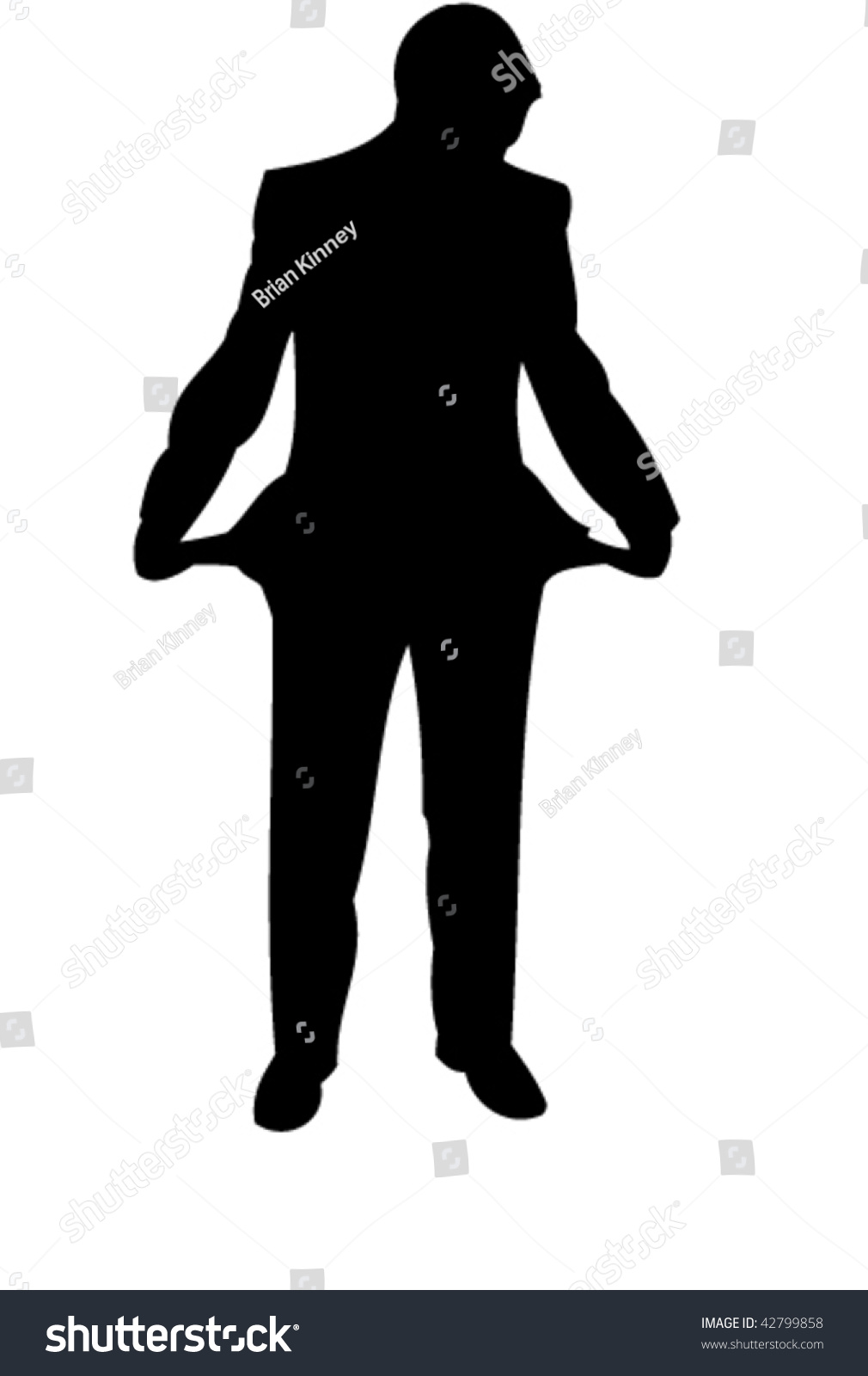 Businessman Stay With Empty Pockets. Icon. Vector ...