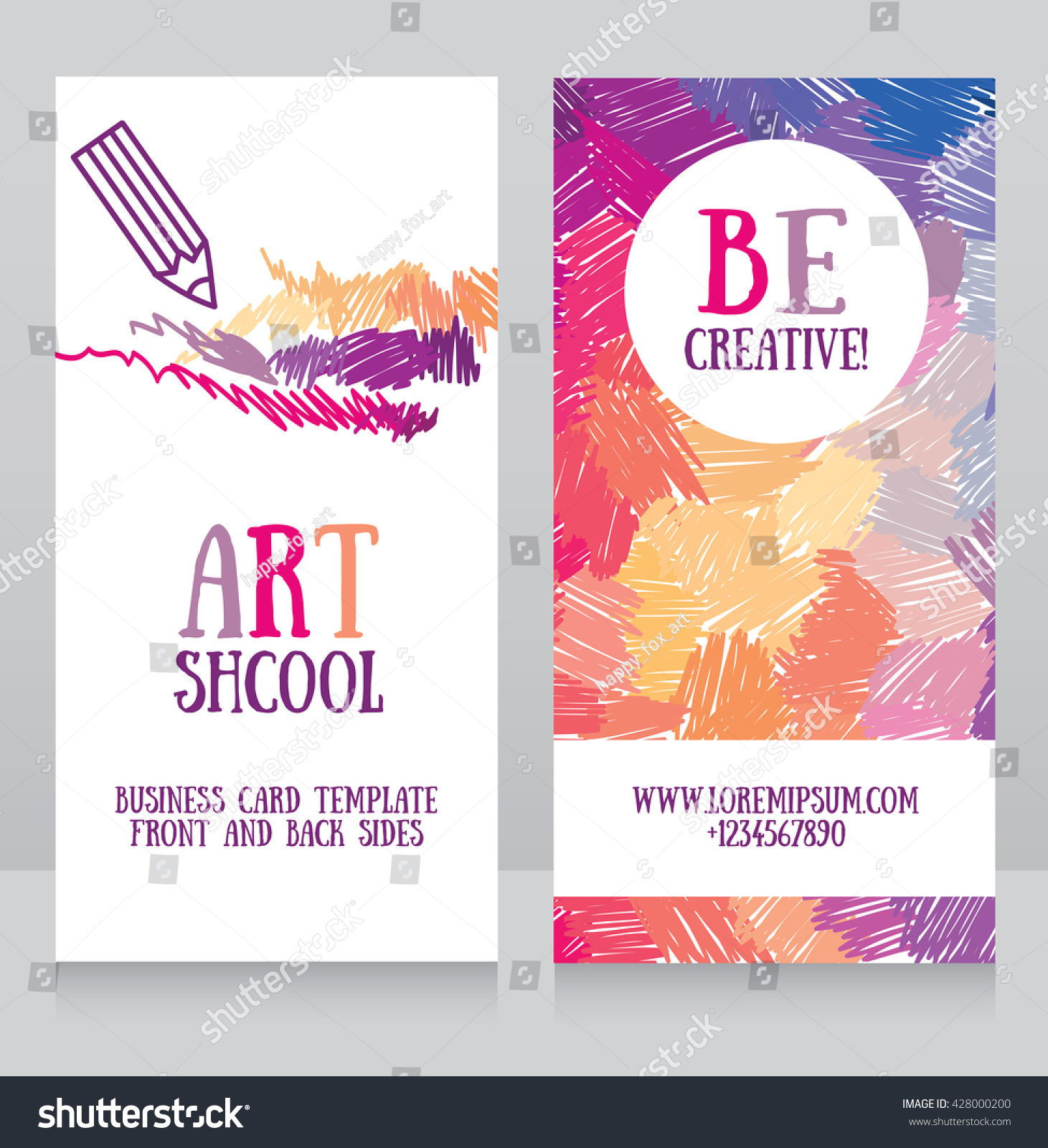 Business Cards Template Art School Can Stock Vector 428000200 ...