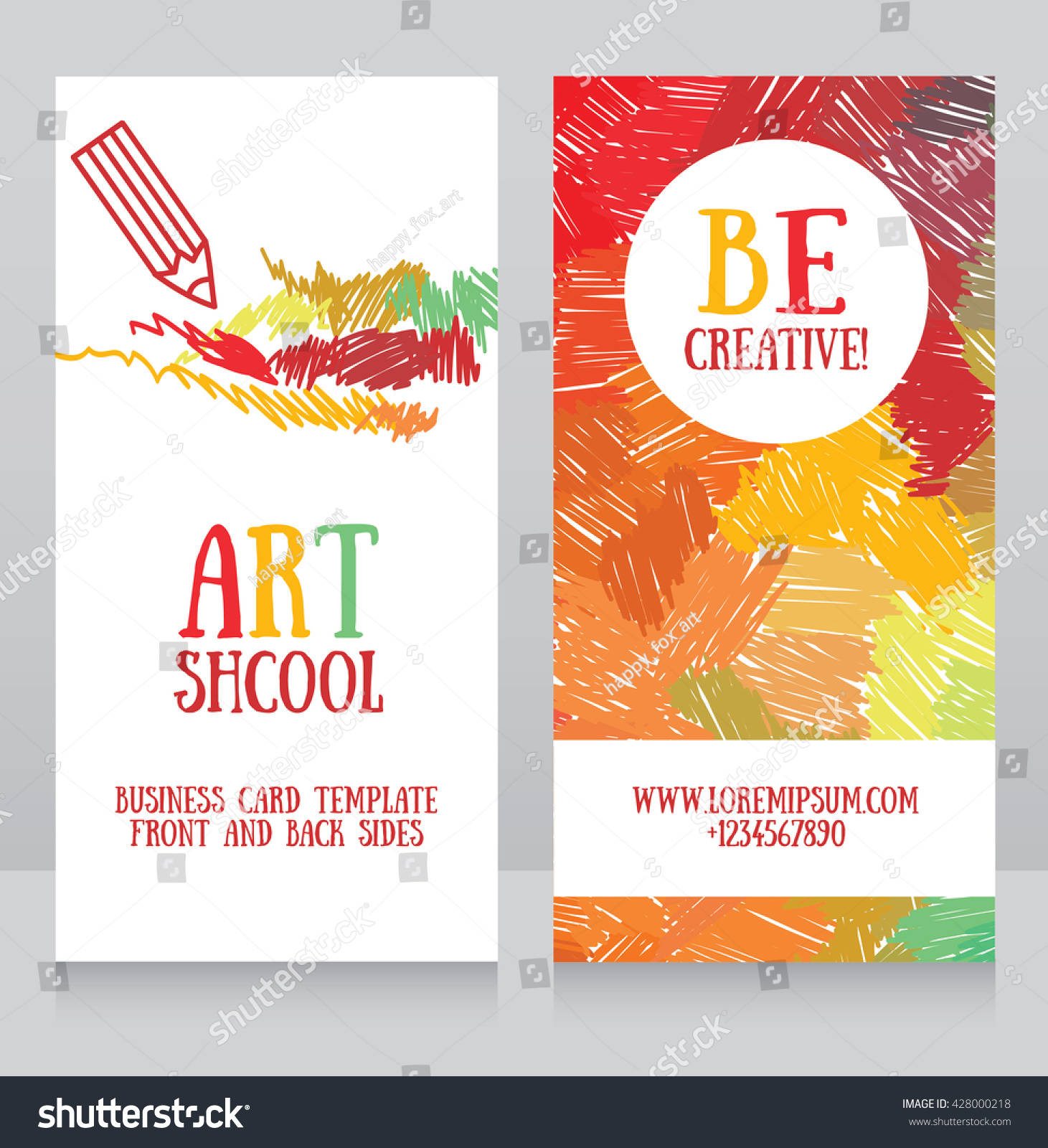 Business Cards Template Art School Can Stock Vector 428000218 ...