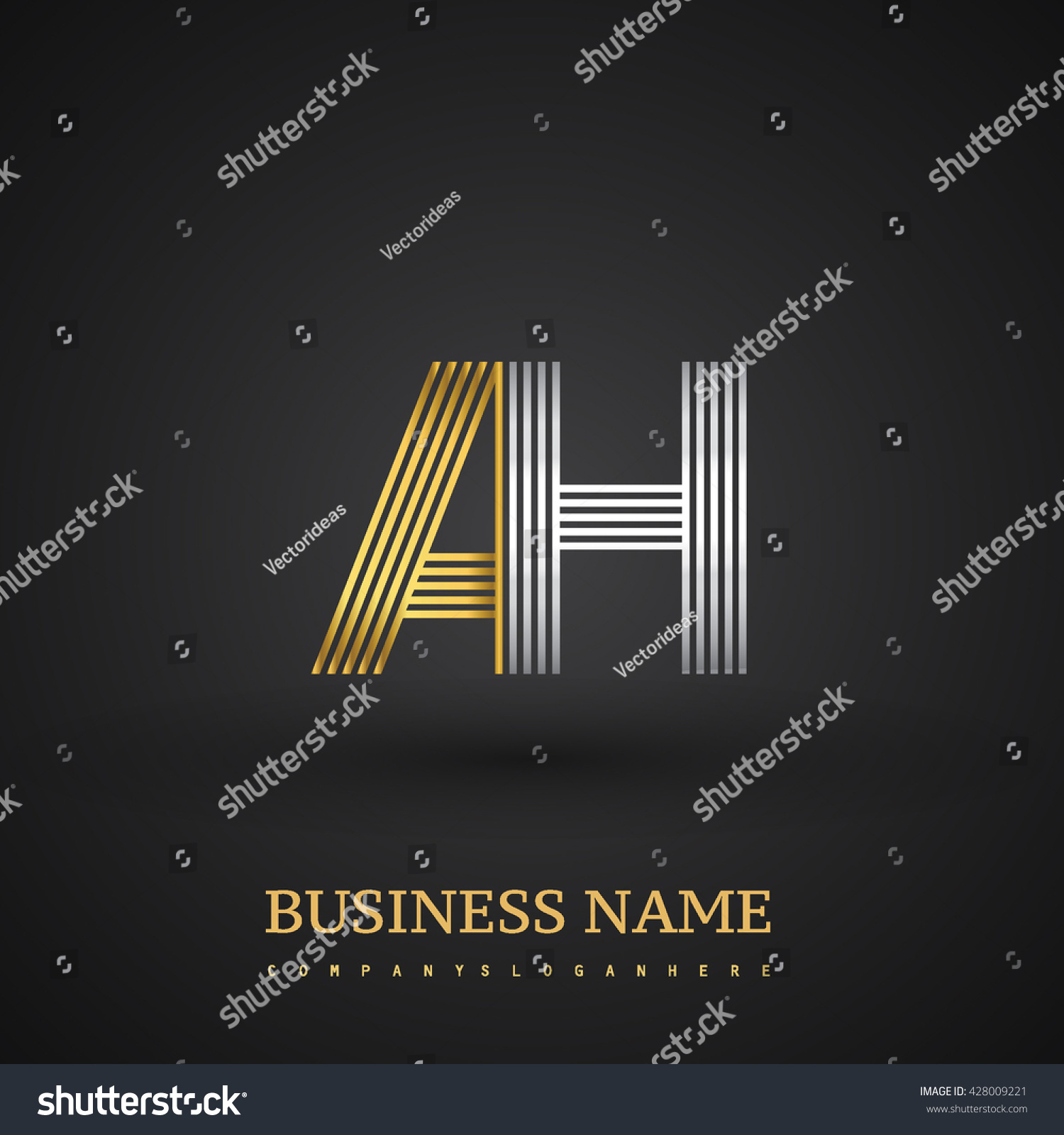 Letter ah logo design elegant gold stock vector 428009221 elegant gold and silver colored symbol for your business name buycottarizona Image collections