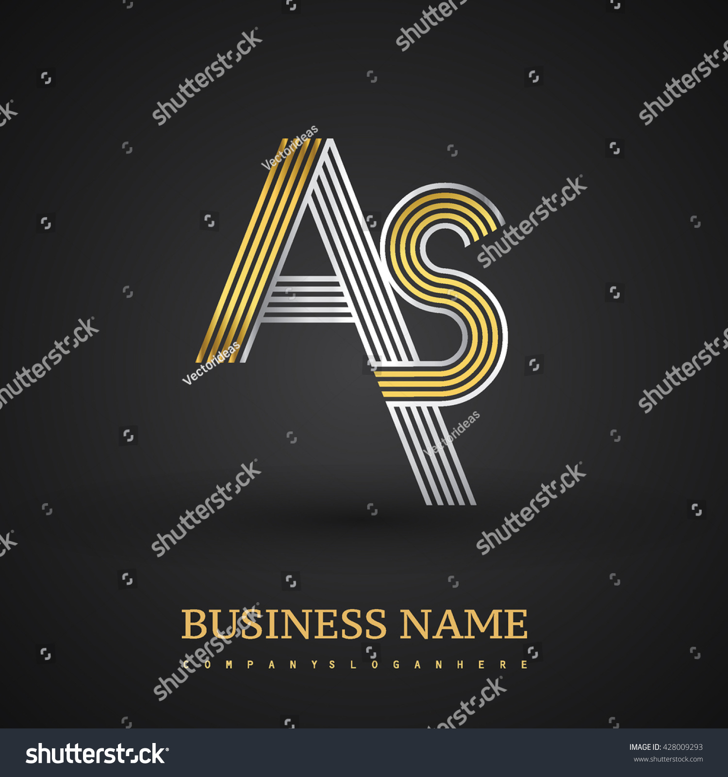Letter logo design elegant gold silver stock vector 428009293 elegant gold and silver colored symbol for your business name buycottarizona Image collections