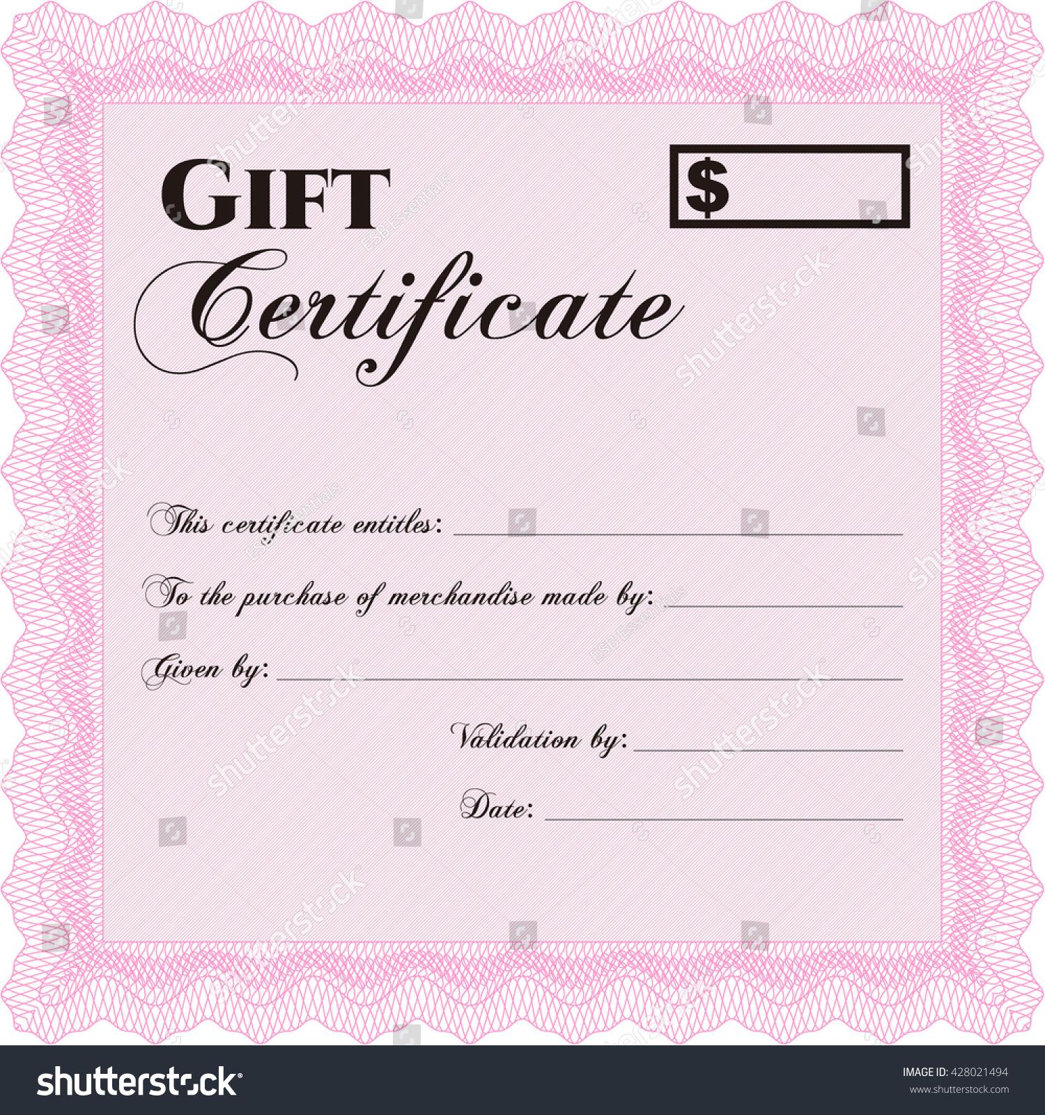 Formal Gift Certificate Template Elegant Design Stock Vector