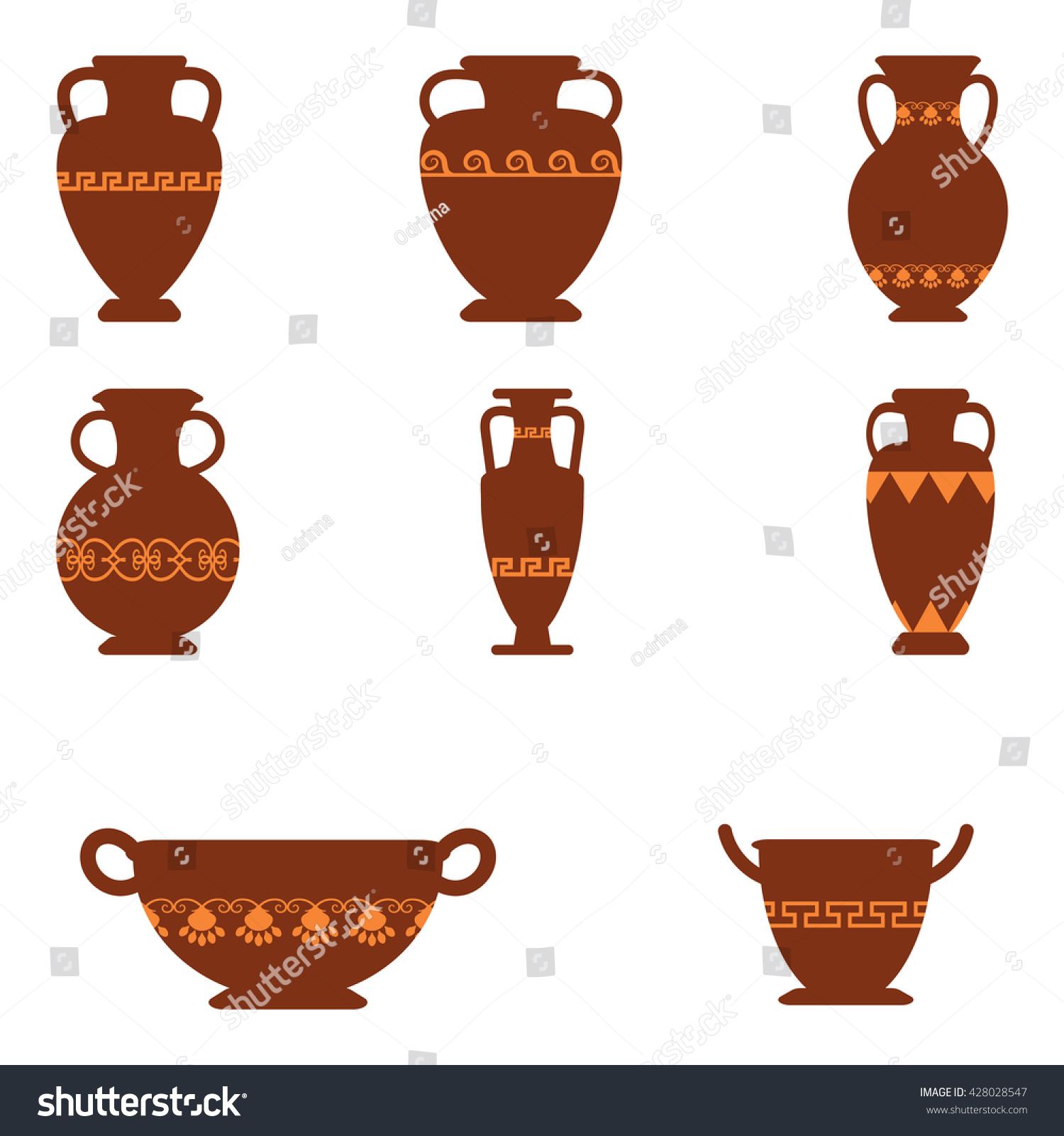 Set logos greek antiquity urns vector stock vector 428028547 set of logos with greek antiquity urns vector ancient greek vases set in traditional colors reviewsmspy