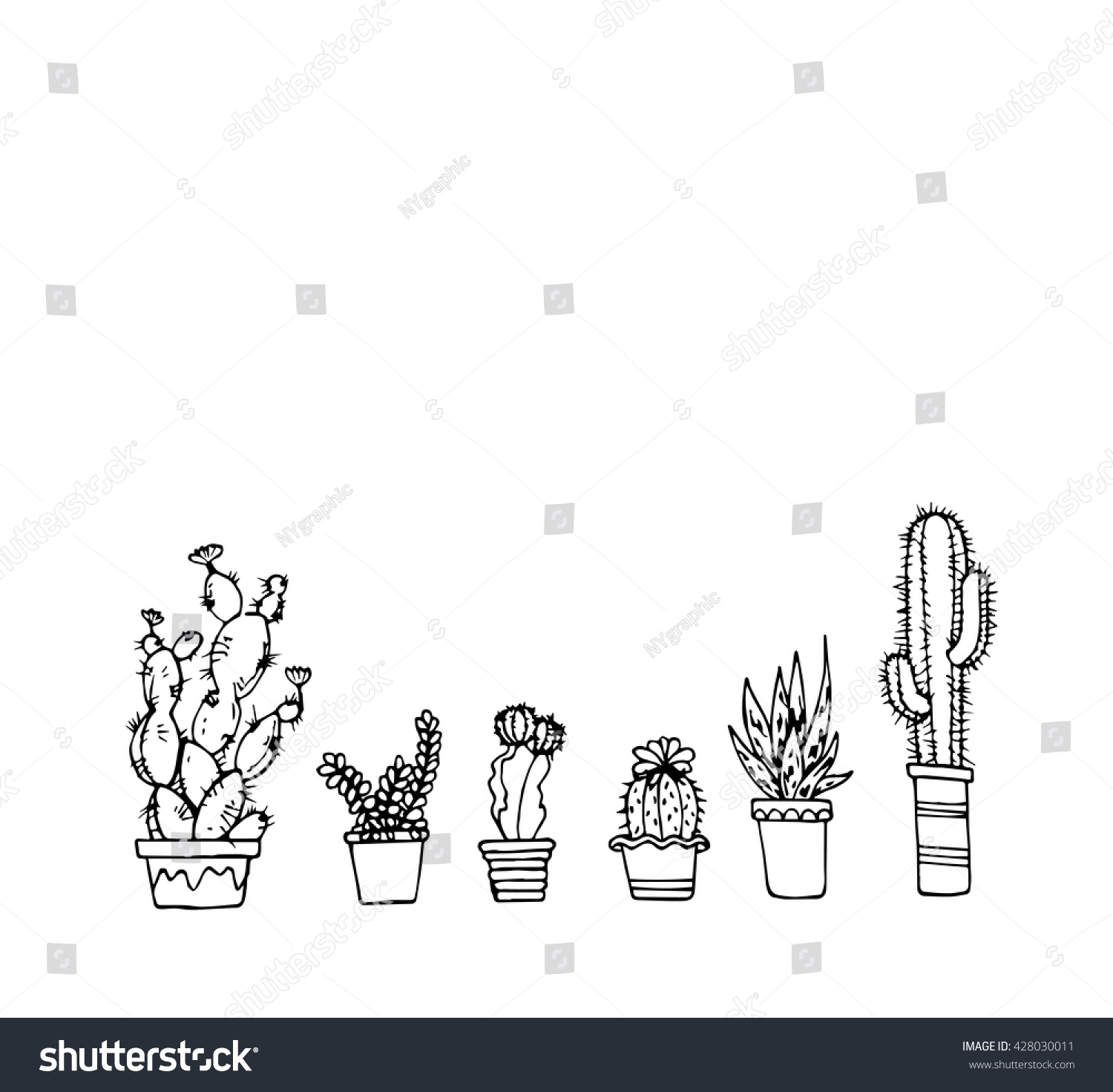 Vector Hand Draw Cactus Pot Set Stock Vector (Royalty Free) 428030011