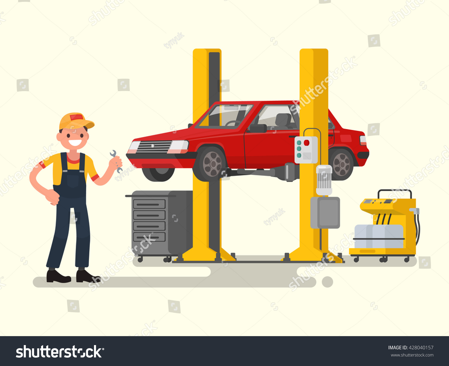 Car repair auto mechanic near car stock vector 428040157 for Nearest motor vehicle inspection station