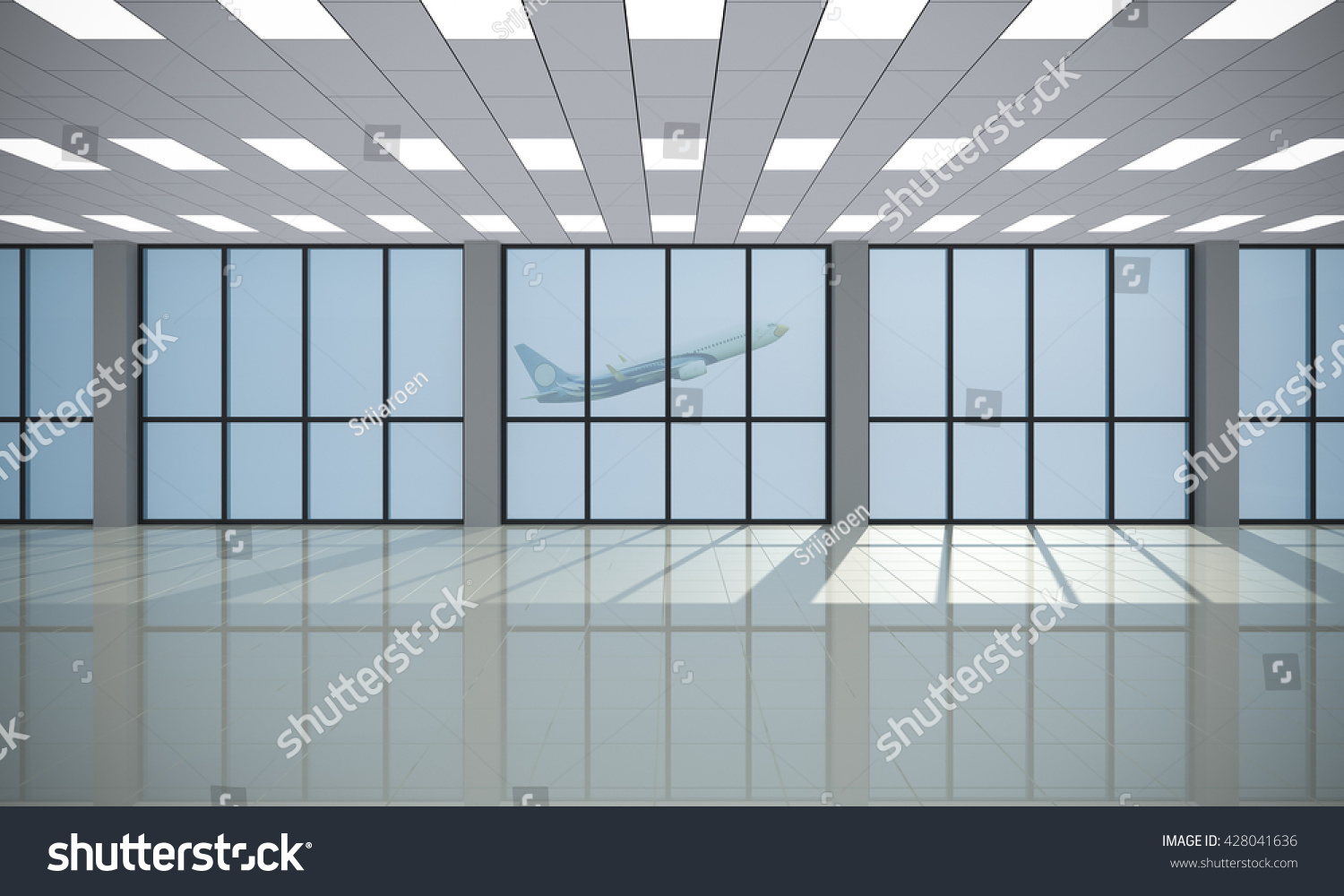 Interior glass curtain wall - Interior Glass Curtain Wall 3d Rendering Interior View Looking Out Toward To Empty Office Lobby