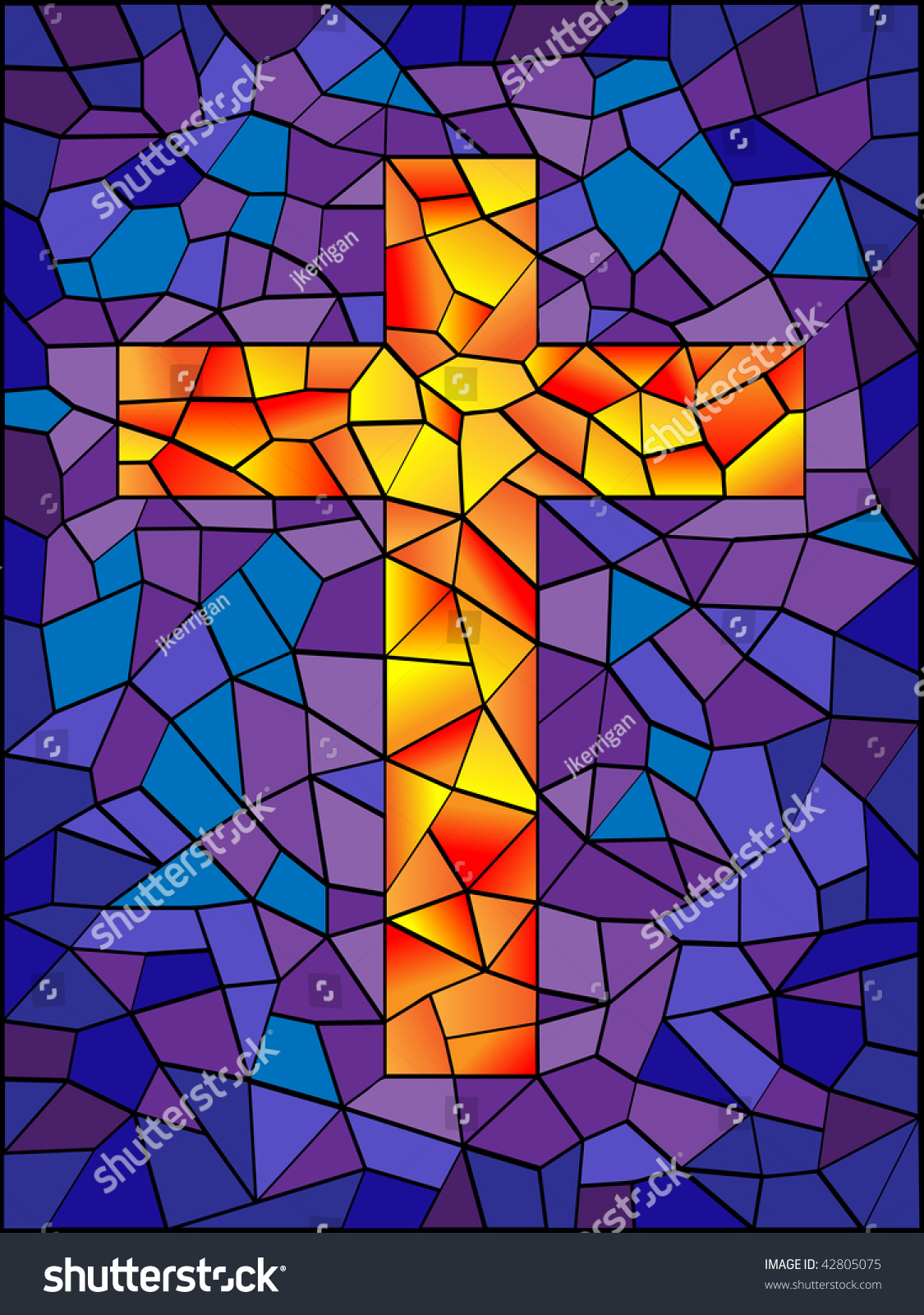 Stained Glass Cross Bright Vivid Colors Stock Illustration ...