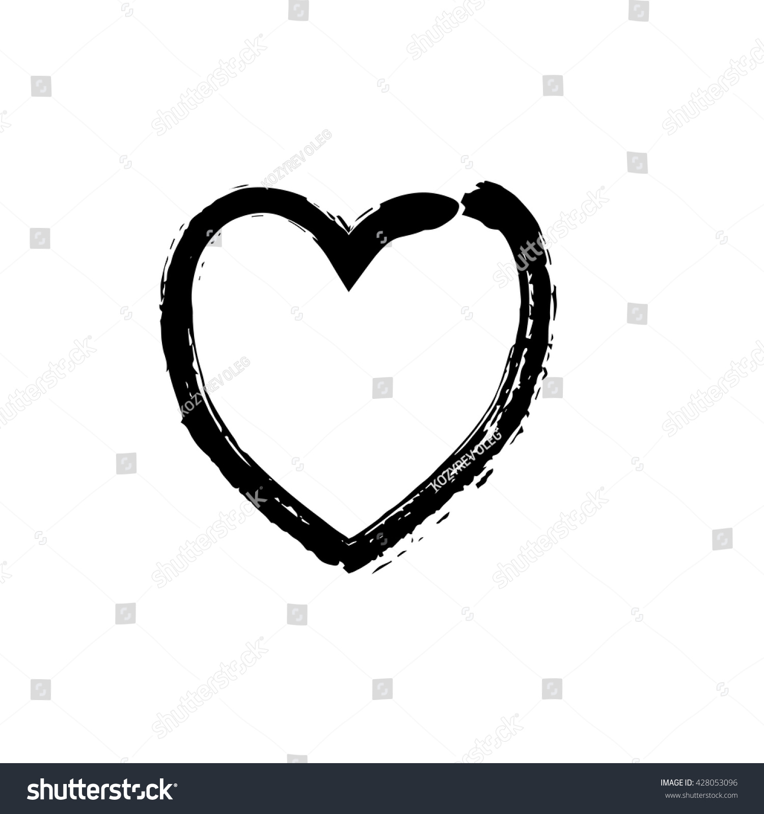Heart Shape Symbol Love Vector Black Stock Vector Royalty Free