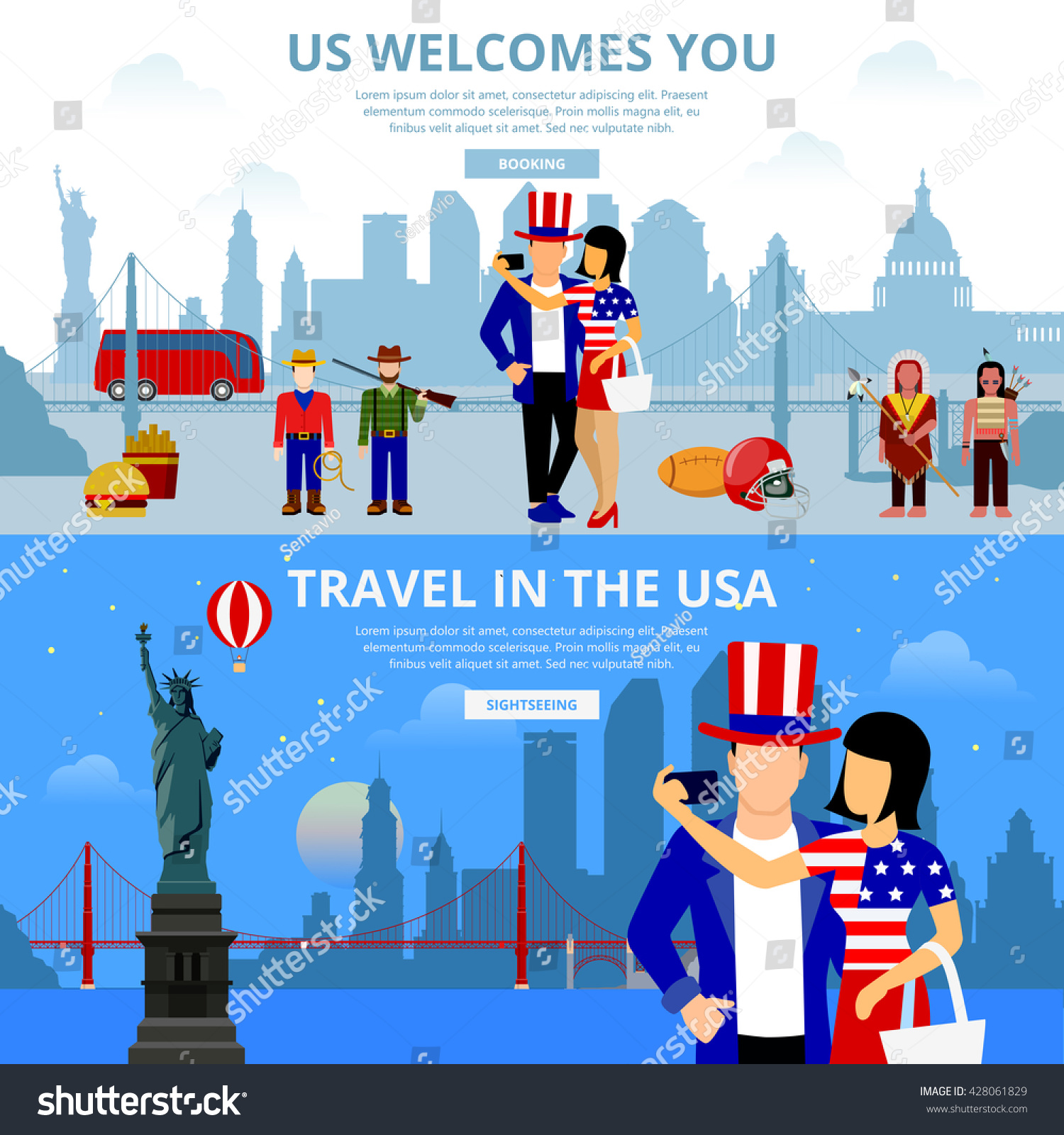 Travel agency flat design illustration set 428061829 for Design agency usa
