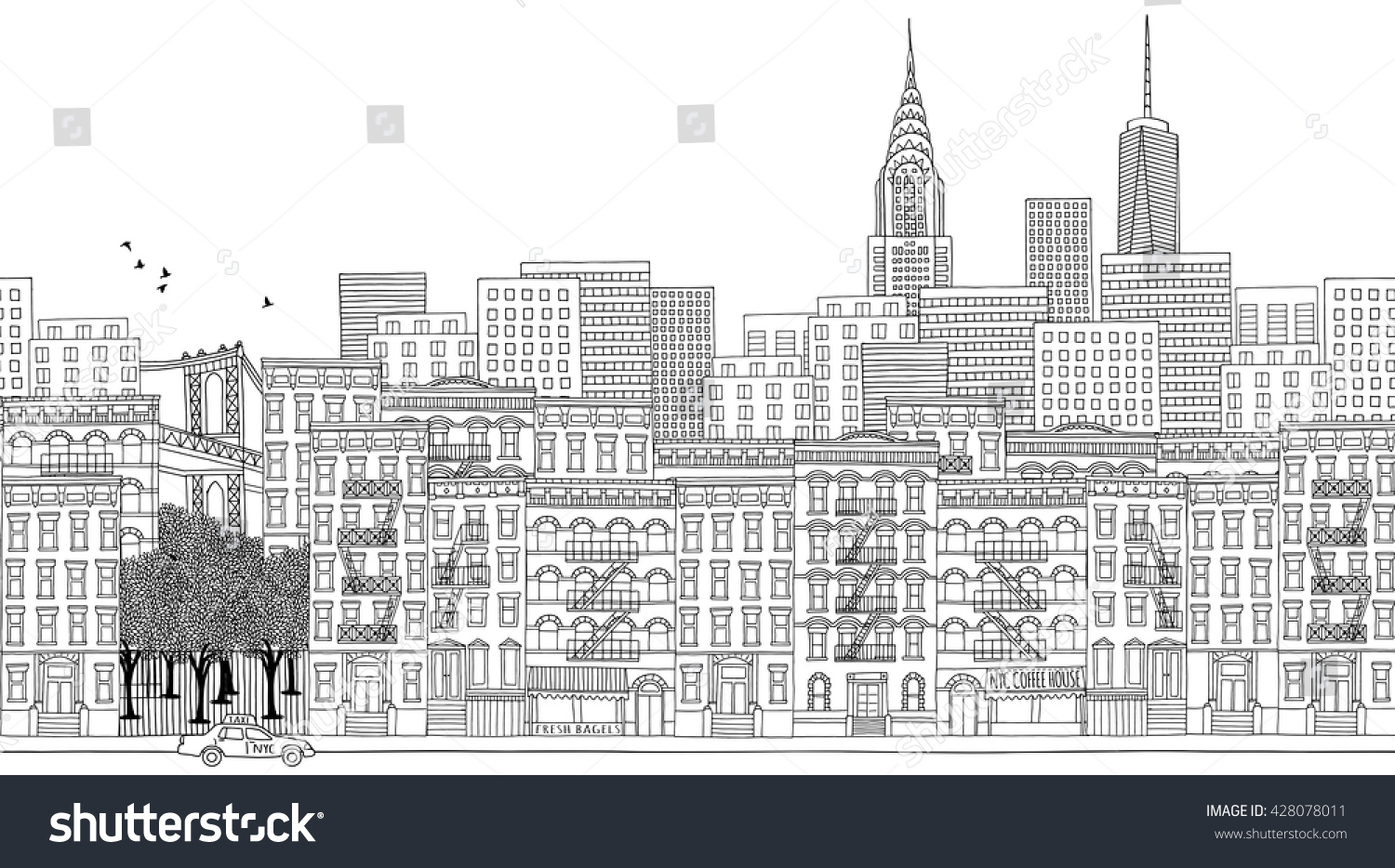 Hand Drawn Panorama Of New York City Skyline Cityscape Seamless Banner Suitable For