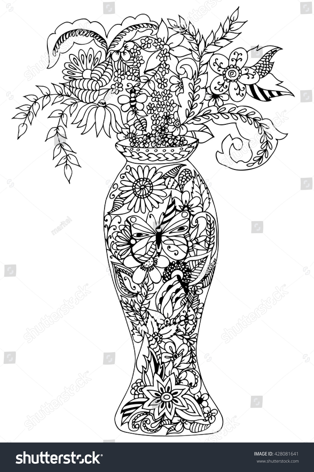 Vector Doodle Illustration Vase Of Flowers Zen Tangle Coloring Book Anti Stress For Adults