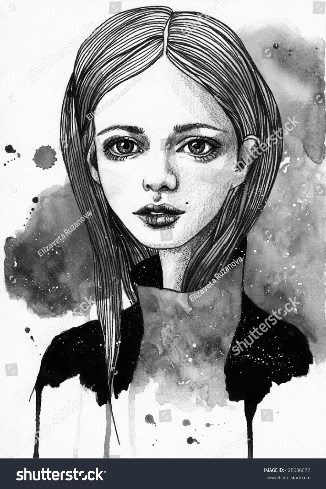 Portrait of a beautiful girl sketch fashion black and white illustration on watercolor cosmic
