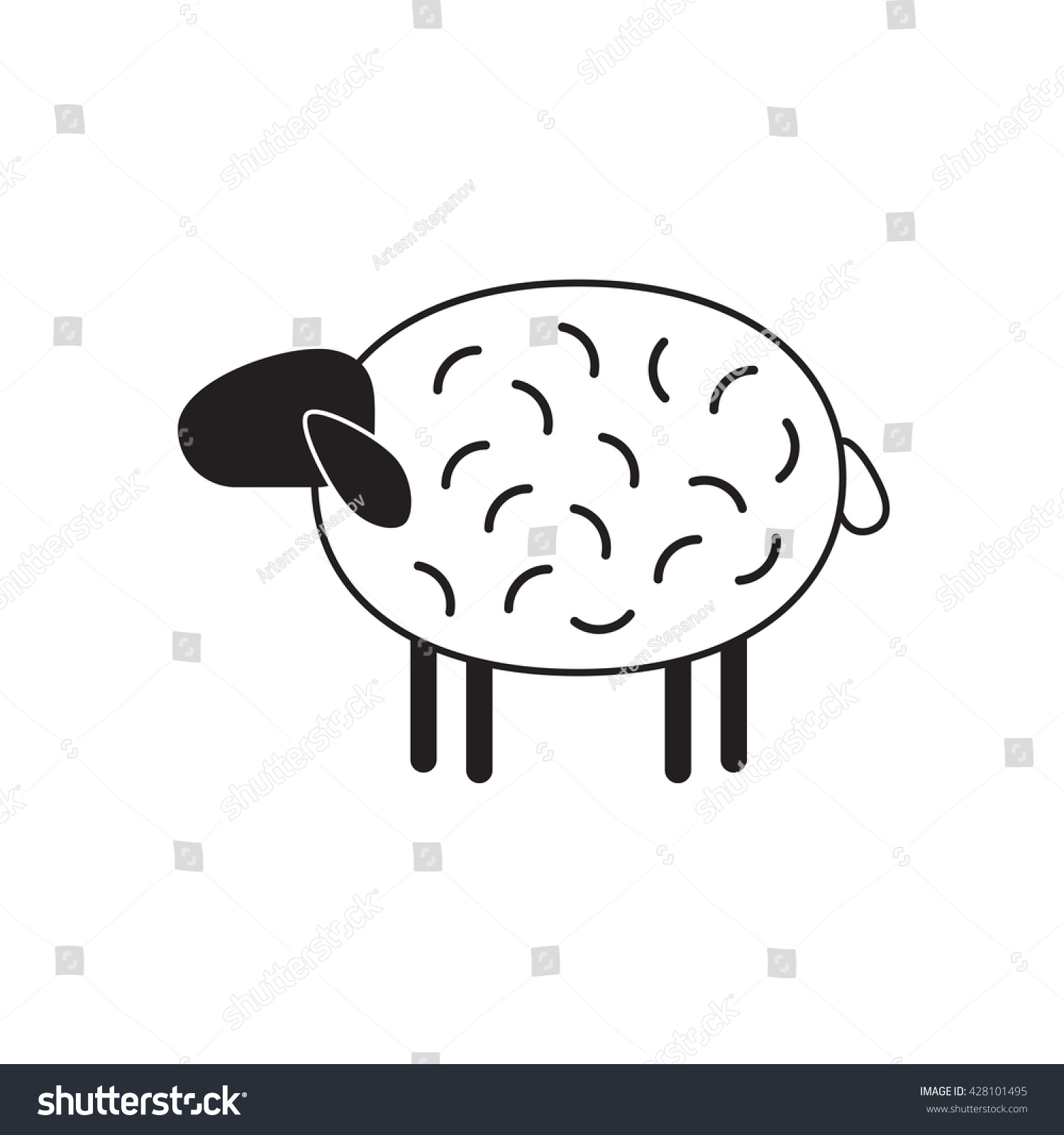 Vector Sheep Ram Icon Sheep Logo Stock Photo (Photo, Vector ...