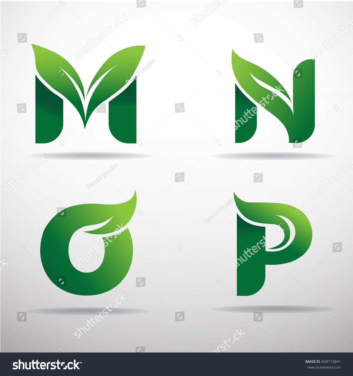 set green eco letters logo leaves stock vector 428112841
