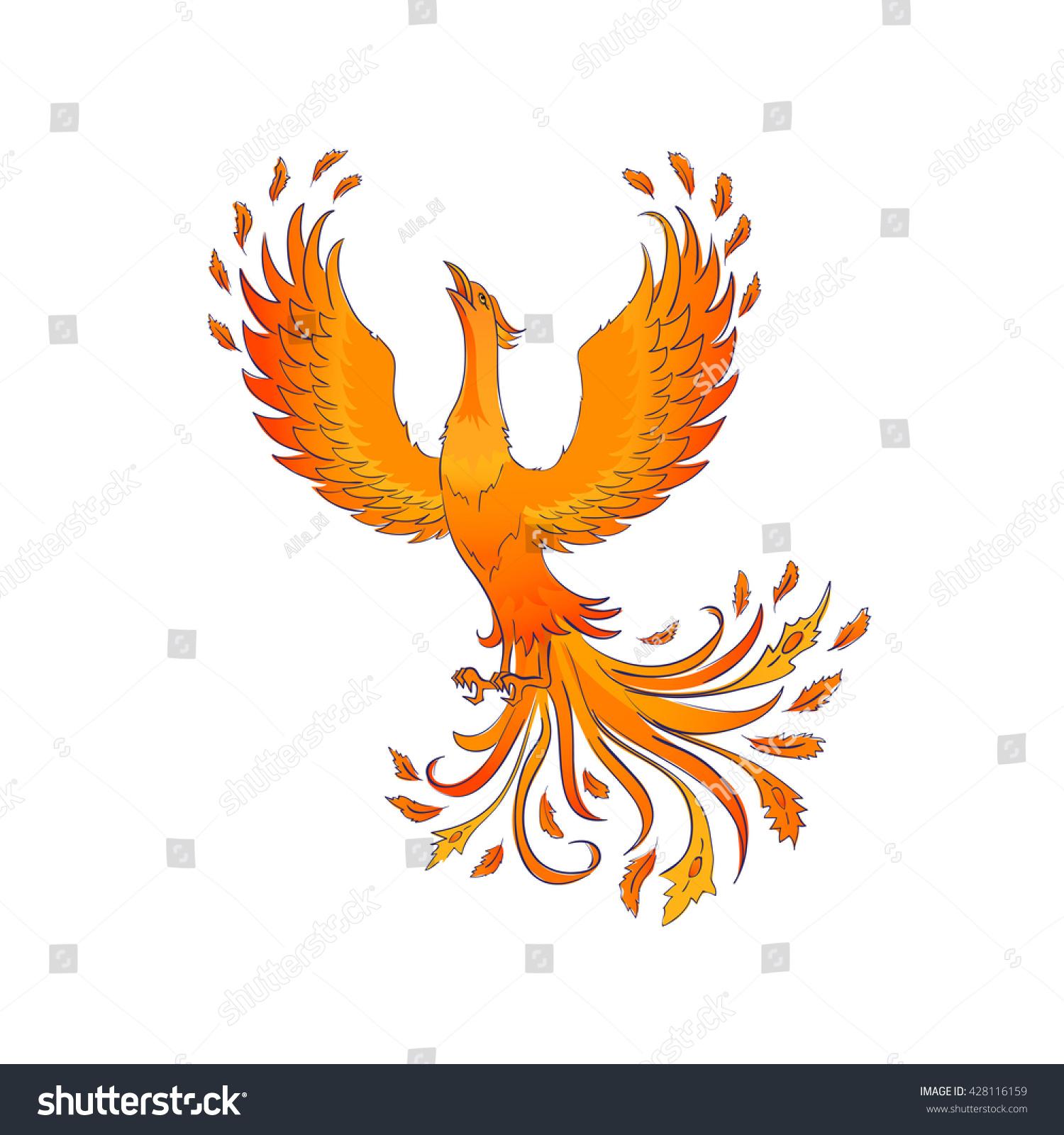Phoenix Bird Isolated On White Symbol Stock Illustration 428116159
