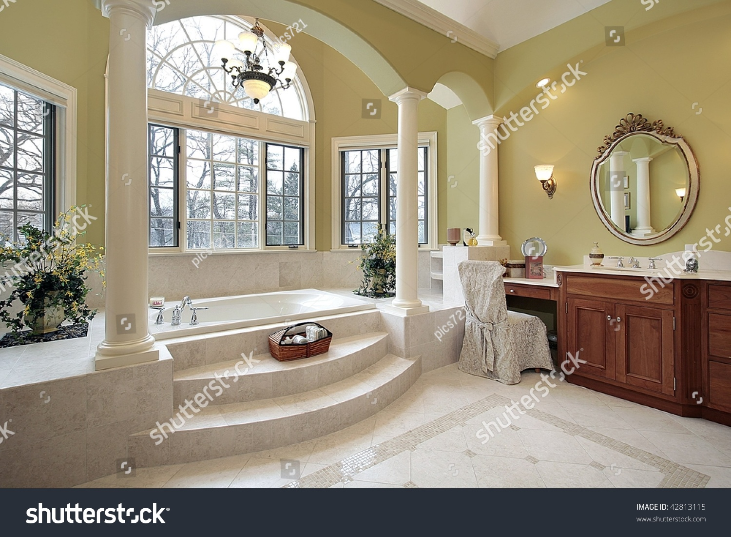 Master bath with wall of windows stock photo 42813115 for Master bath windows