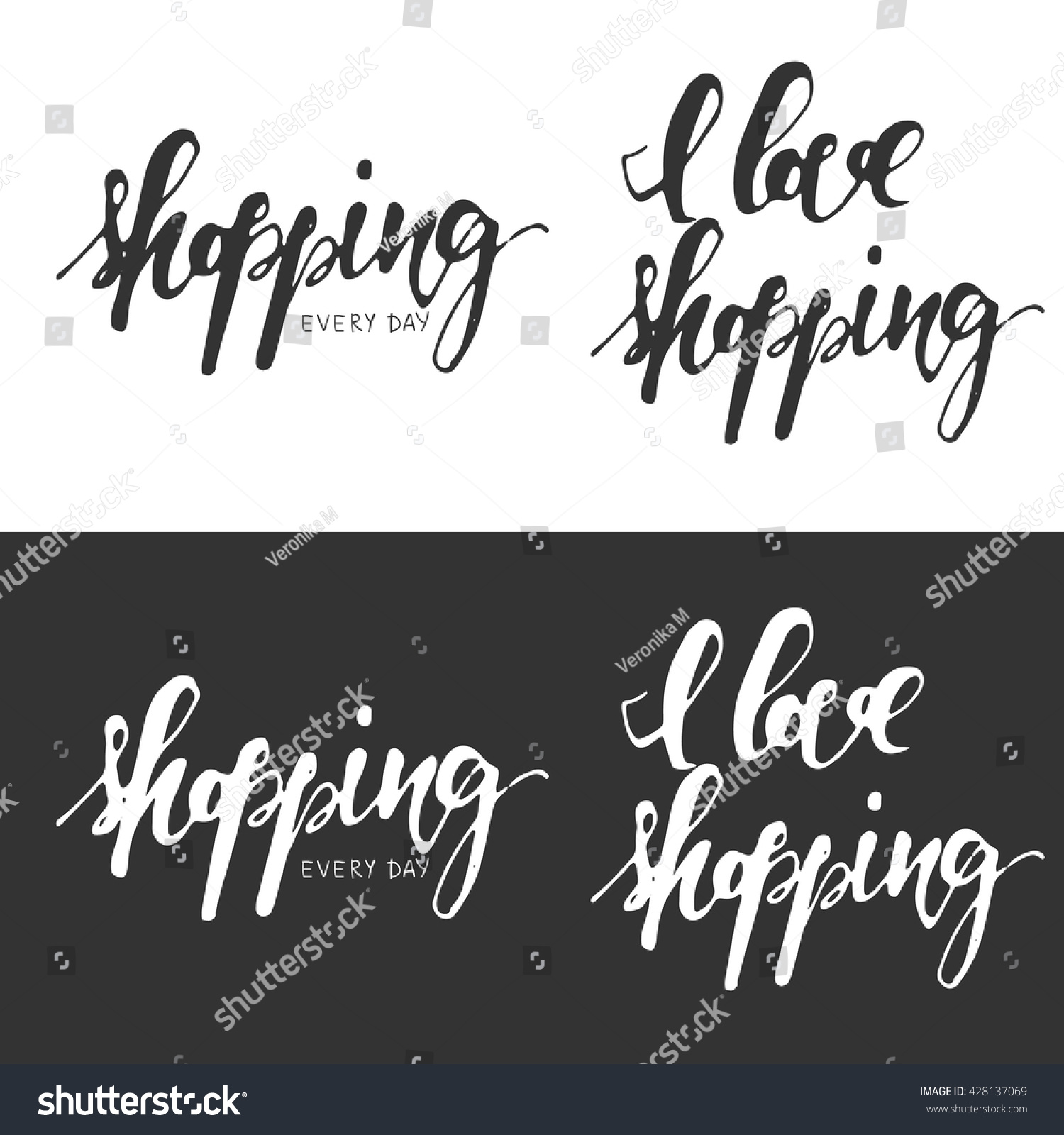 I love shopping every day sale banners hand