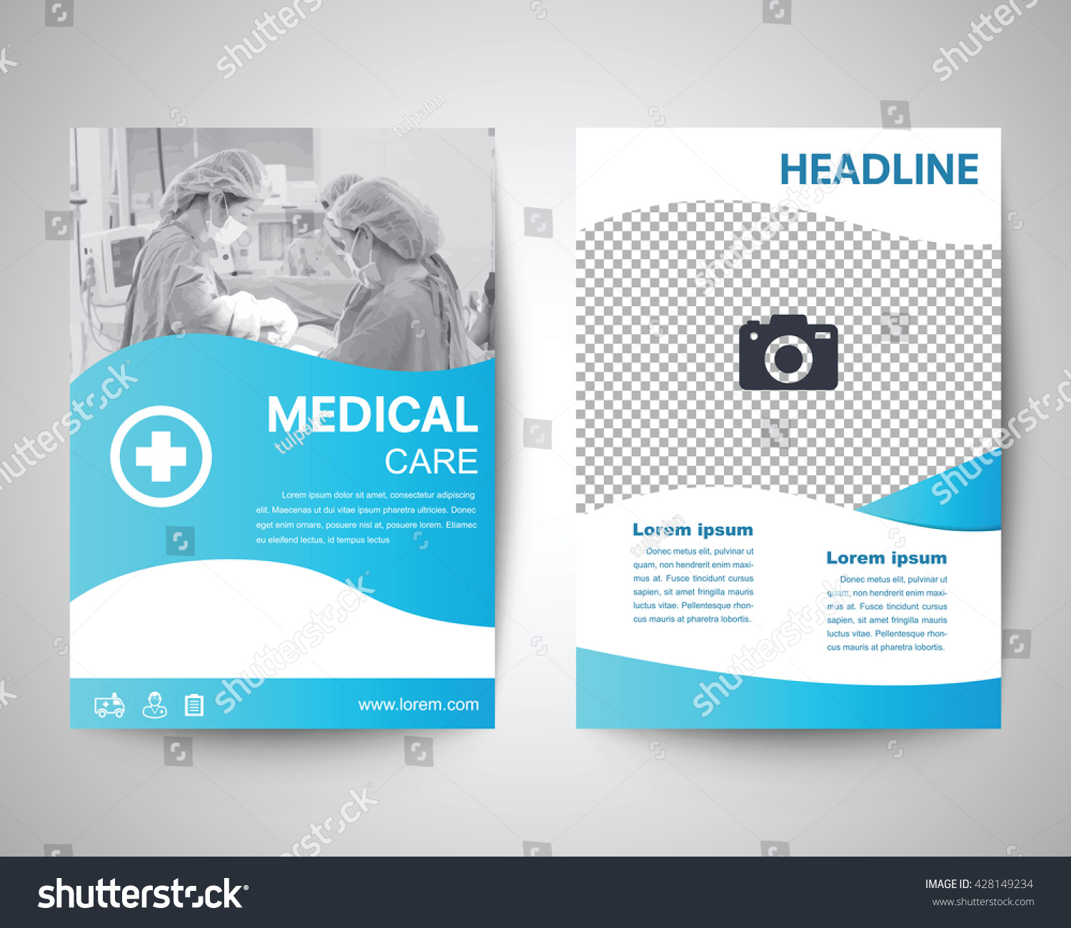 Blue medical flyer template brochure background stock for Background brochure templates