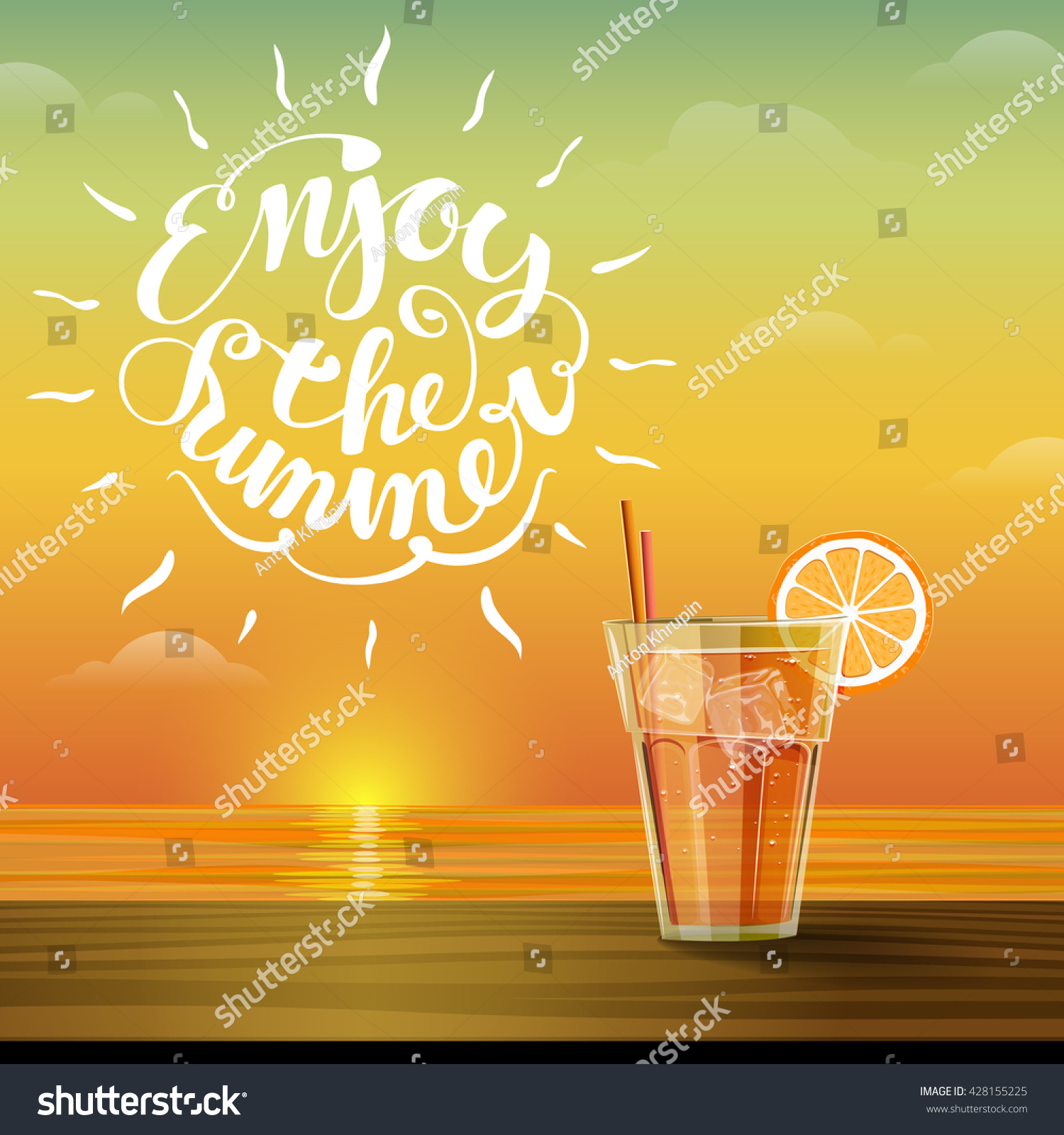 Captivating Summer Glass Of Cold Lemonade At Sunset. Hello Summer. Sky And Sea On The