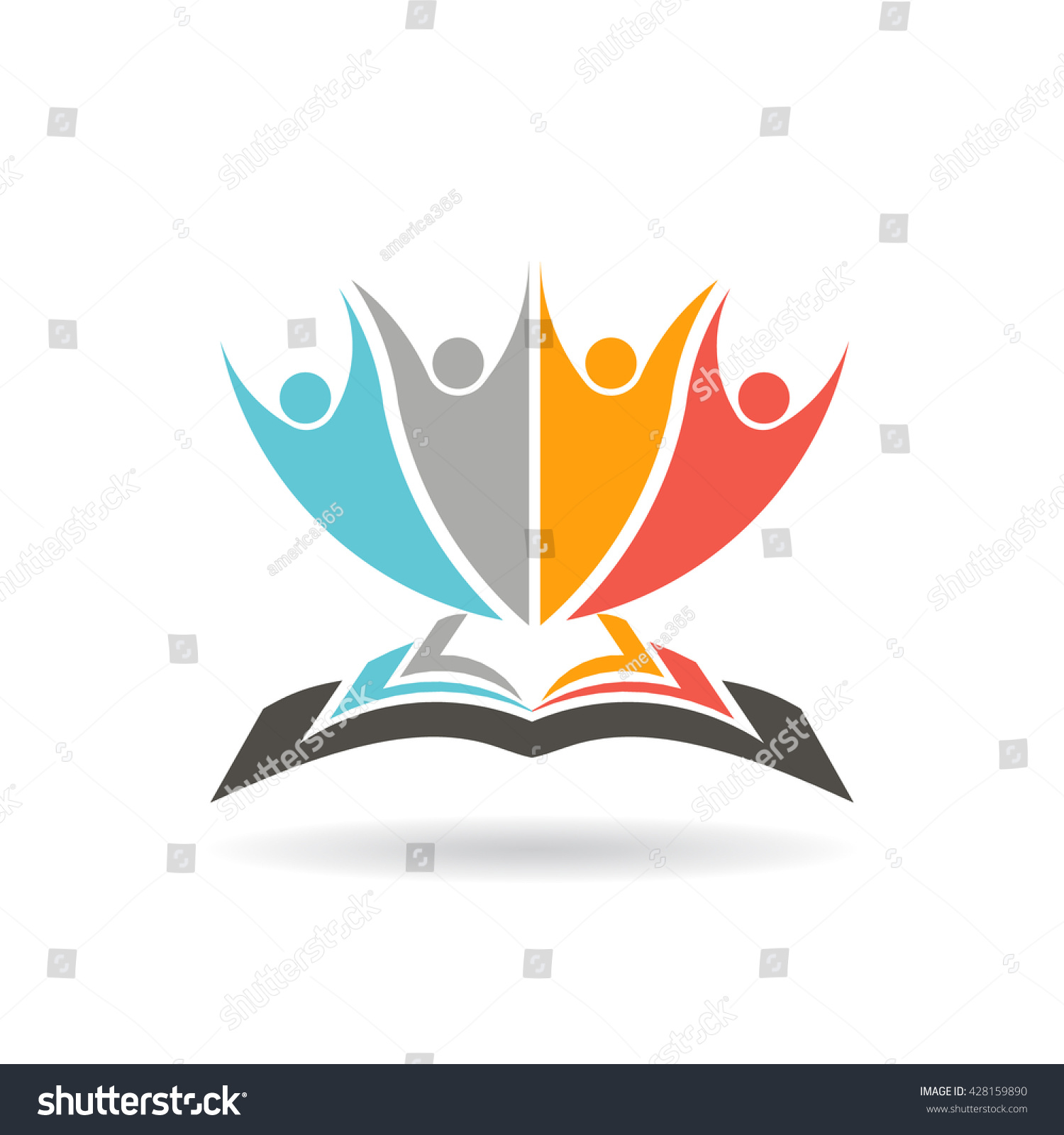 book campaign logo people education stock vector  people education study and literature vector graphic illustration