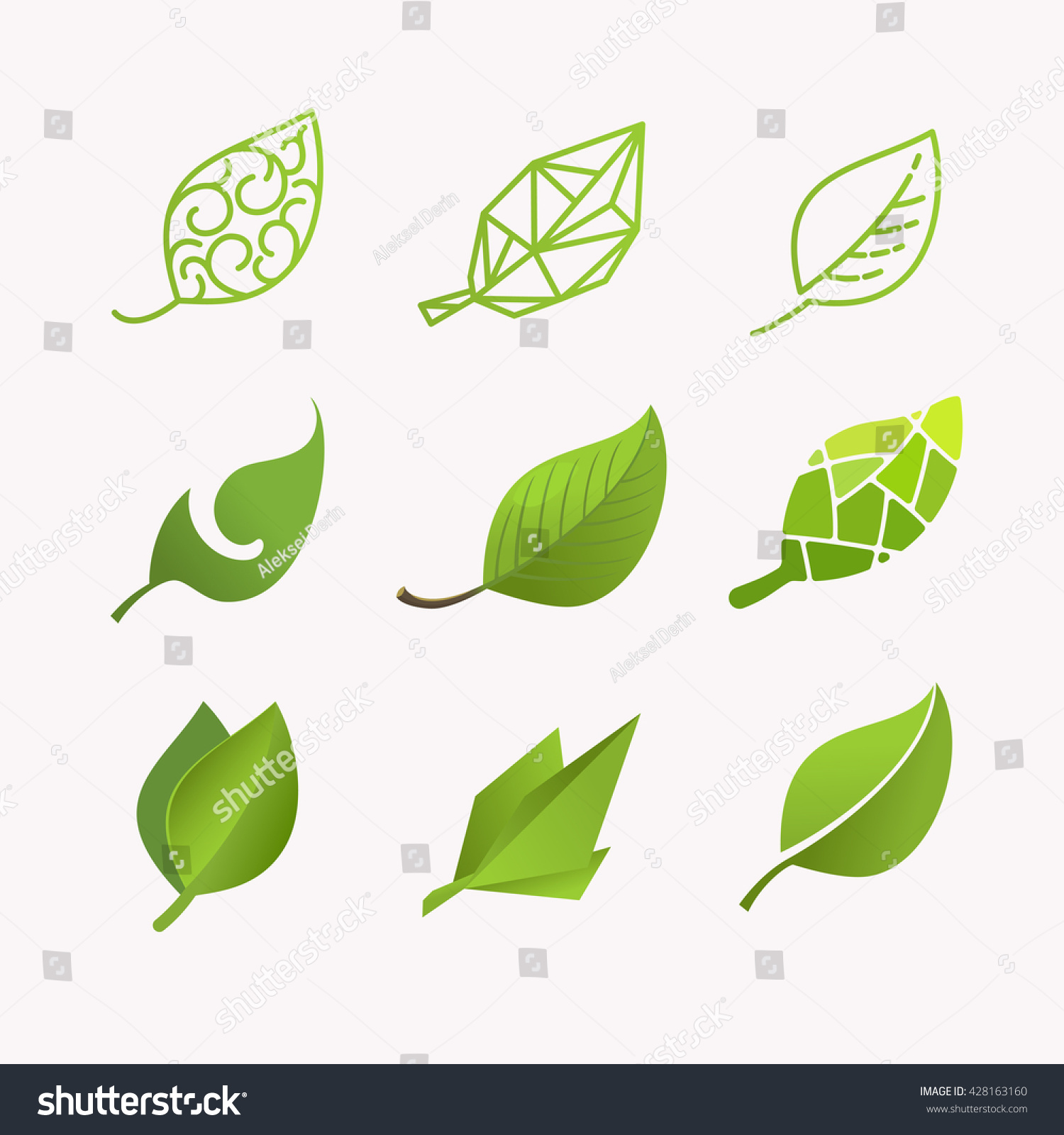 set vector images leaves linear polygonal stock vector 428163160