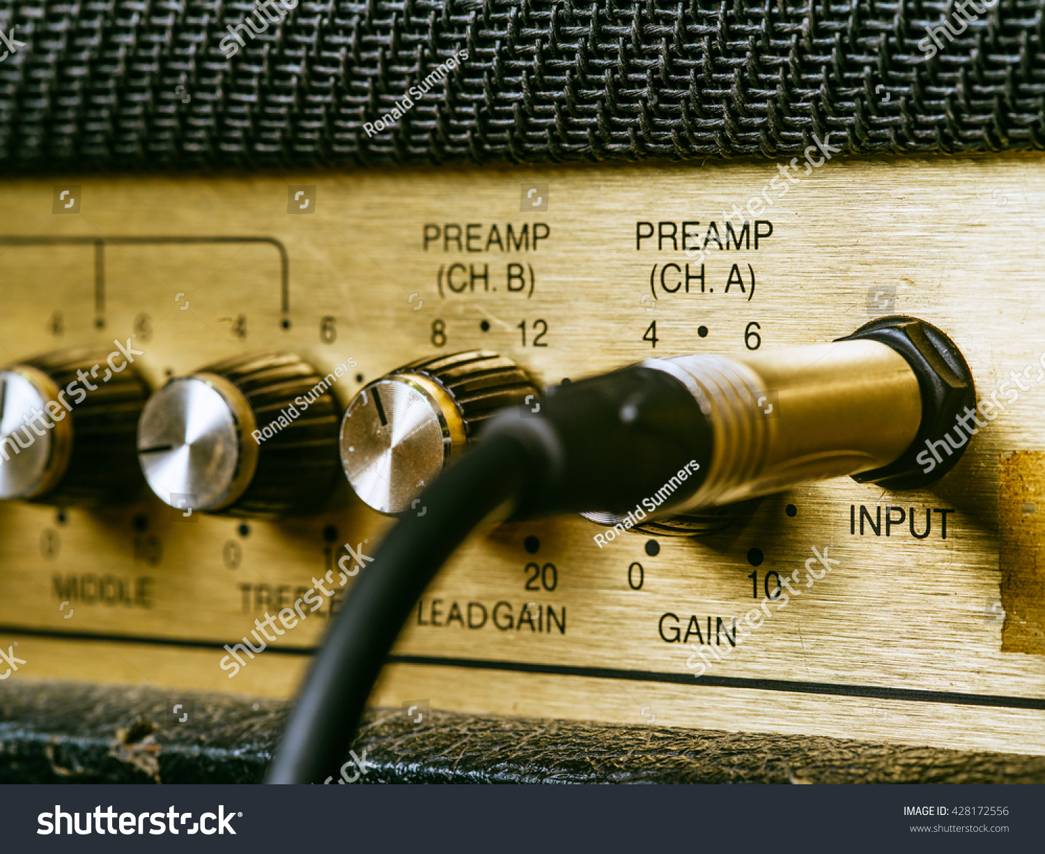 Macro Photo Vintage Electric Guitar Amplifier Stock Edit Now Mic Of A Showing The Knobs And Input Plug
