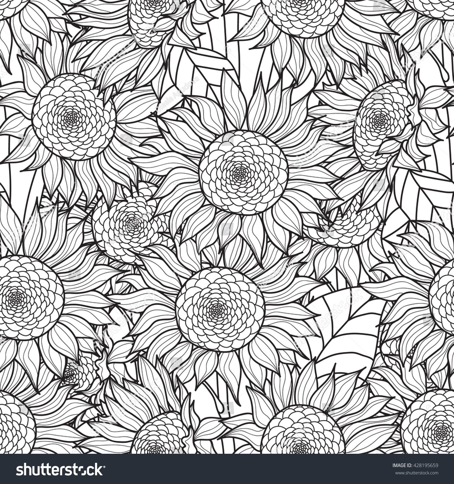 Pumpkins and Sunflower Digital Coloring Page Fall Adult | Etsy | 1600x1500