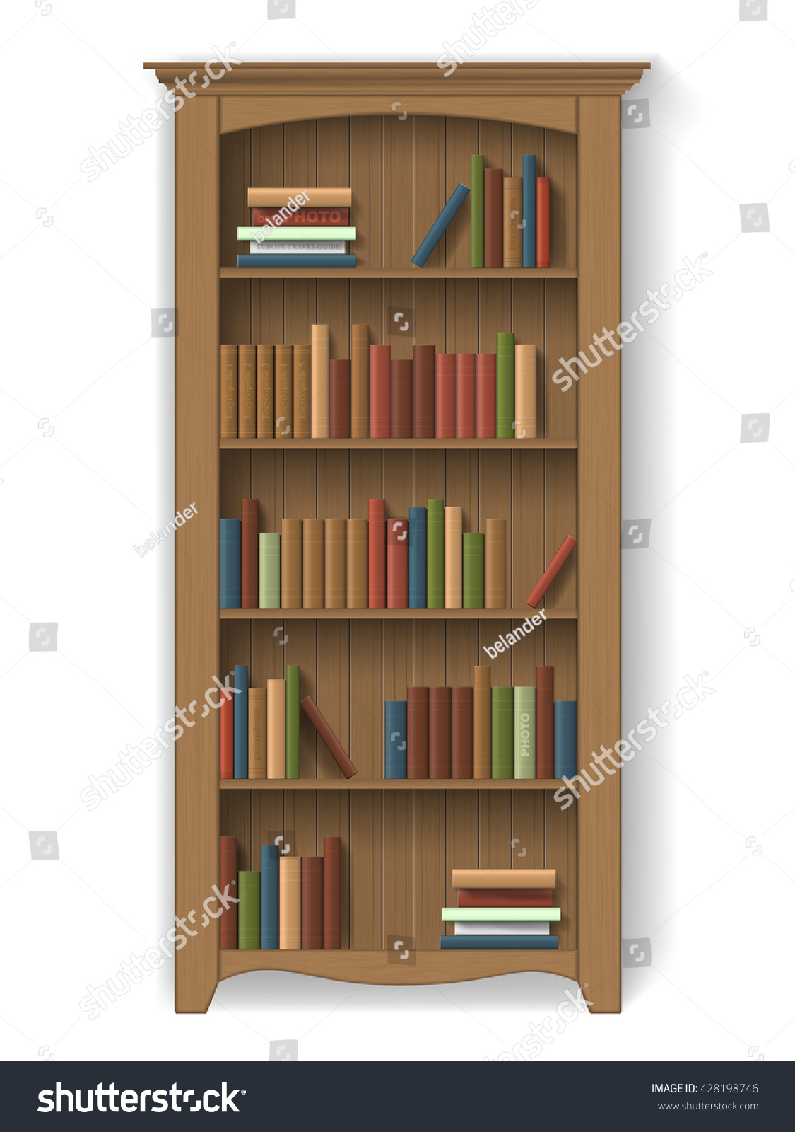Interior wooden shelves free vector - Wooden Bookcase With Books On The Shelves Furniture For Library Or Cabinet Element Of