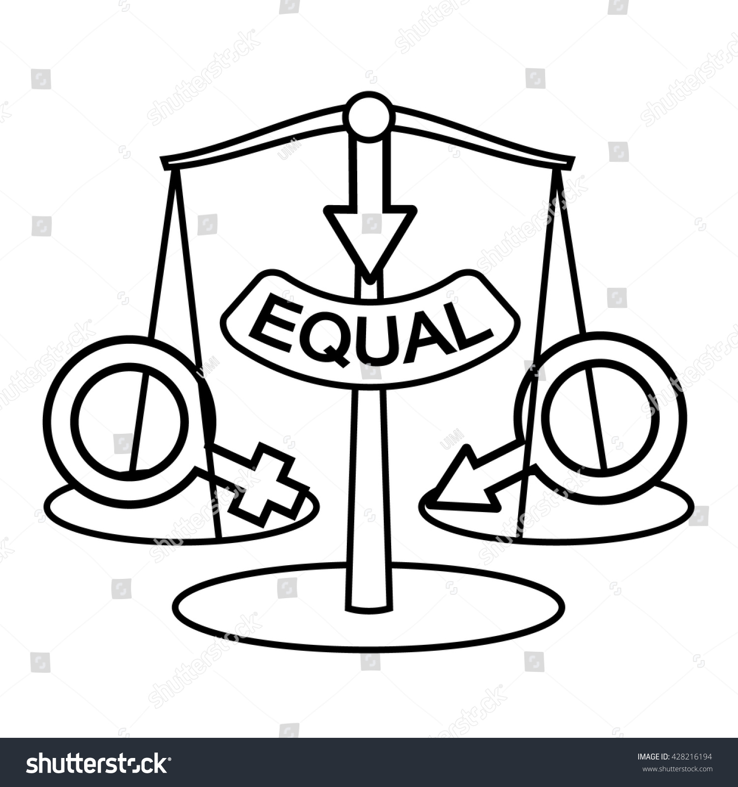 Gender Equality Concept Sex Equality Vector Stock Vector Royalty