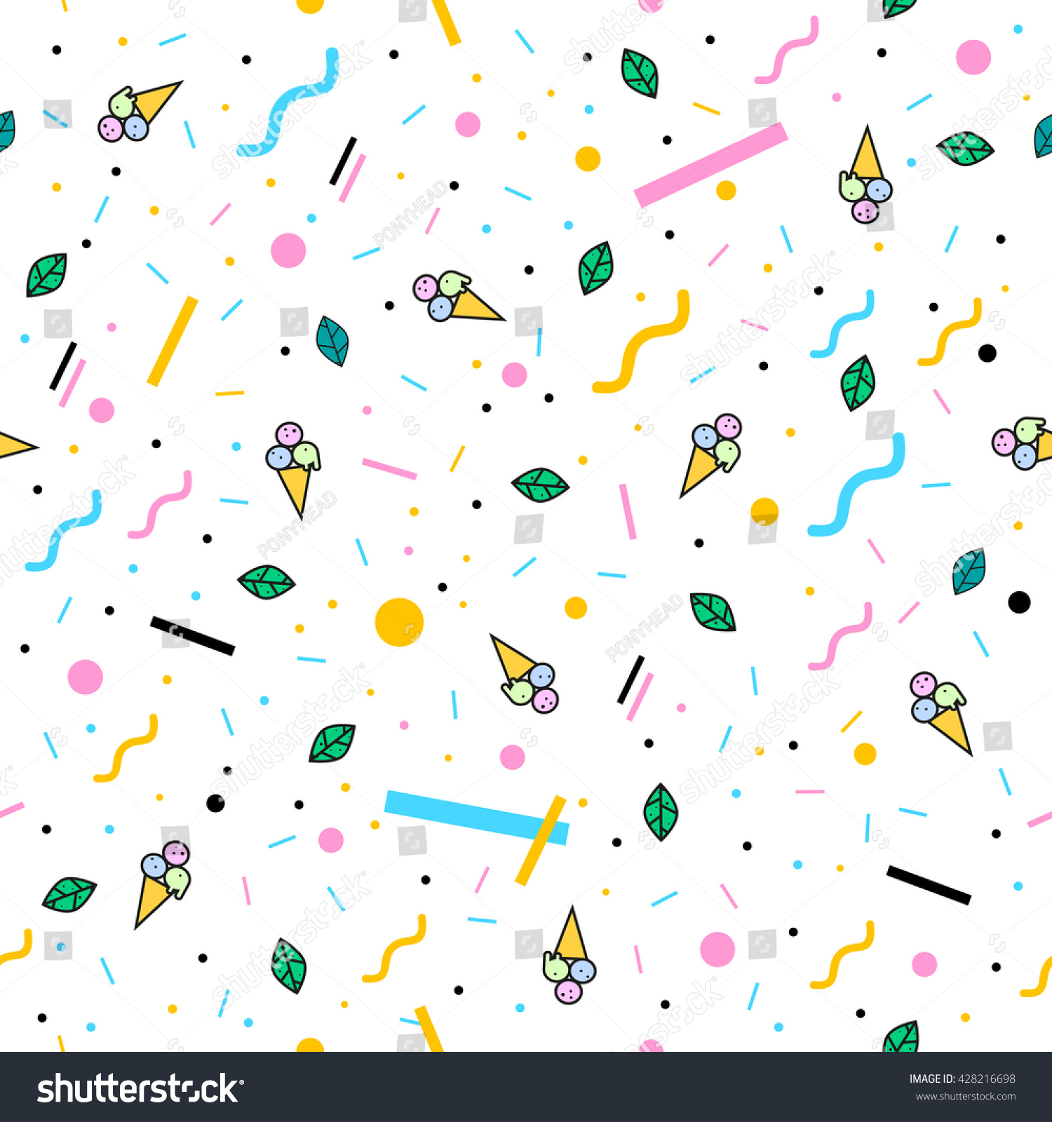 Summer Pattern With Ice Cream, Geometric Shapes And Green Leaves. Stylish  And Trendy Fabric