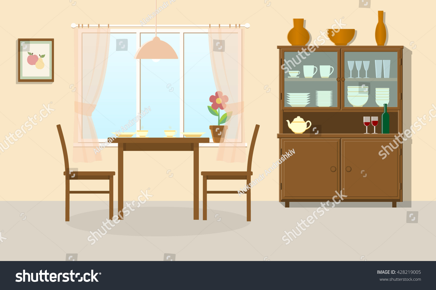 Dining Room Interior Table Chairs Sideboard Stock Vector