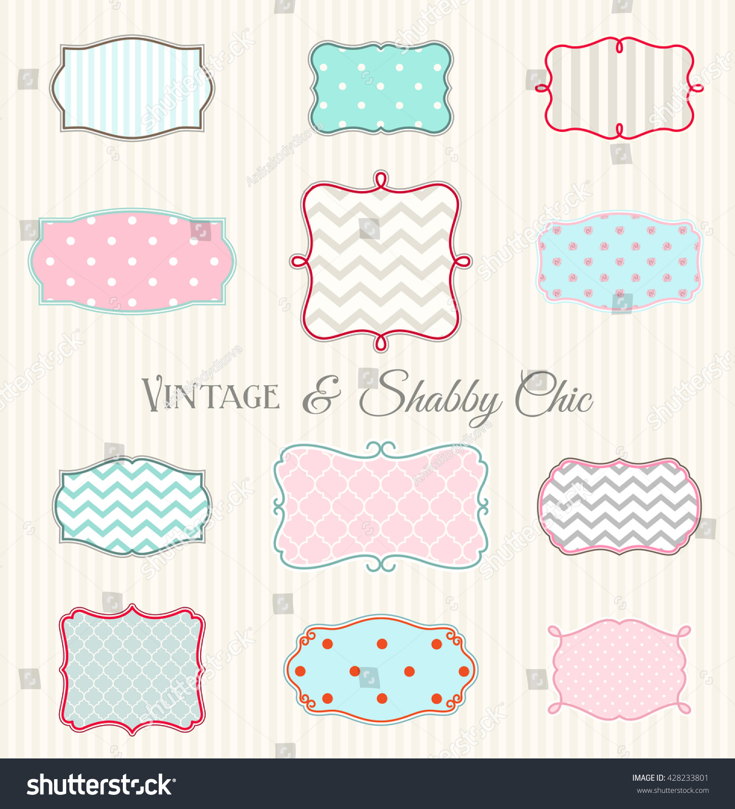 Collection Of Vintage And Shabby Chic Frames Hand Drawn Shapes Filled By Various Textures Chevron Polka Dot Stripes Ina Pastel Colors Vector