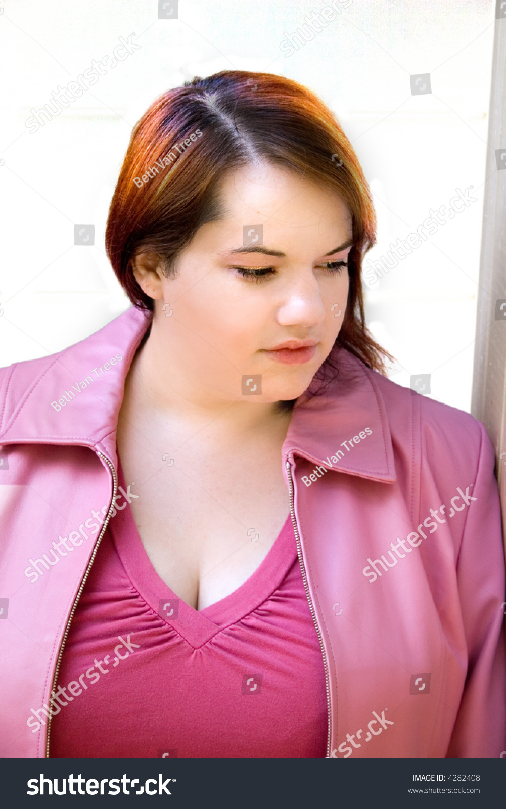 Pretty Lady Pink Highlighted Hair Stock Photo Edit Now 4282408