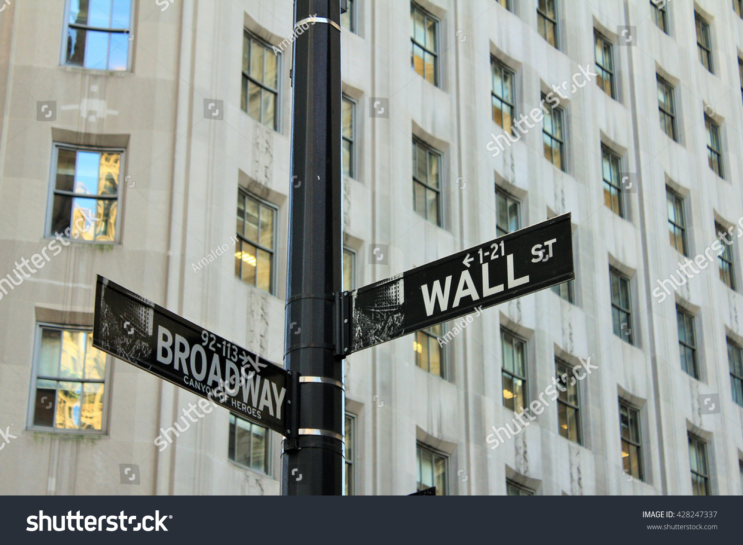 Wall Street and Broadway corner sign in New York