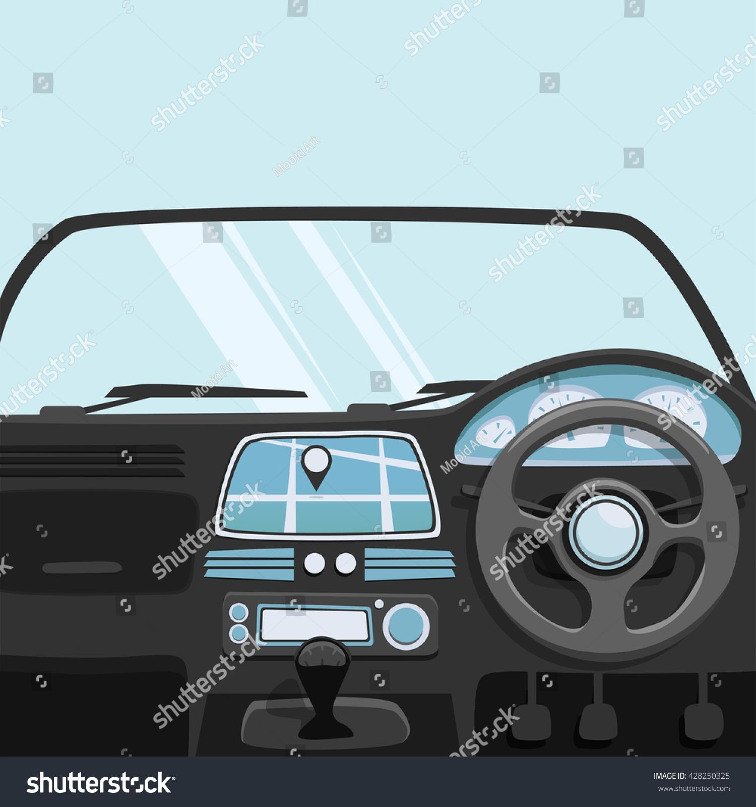 vehicle interior inside car vector cartoon stock vector 428250325 shutterstock. Black Bedroom Furniture Sets. Home Design Ideas