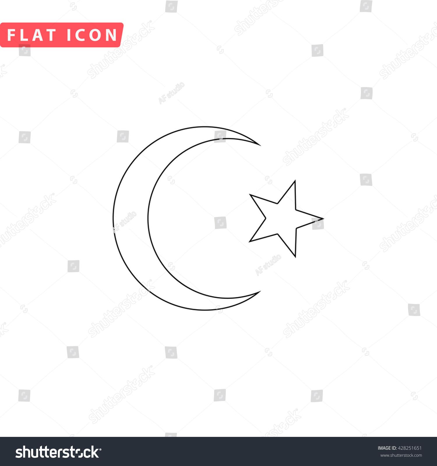 Islam Symbol Black Outline Simple Pictogram Stock Illustration