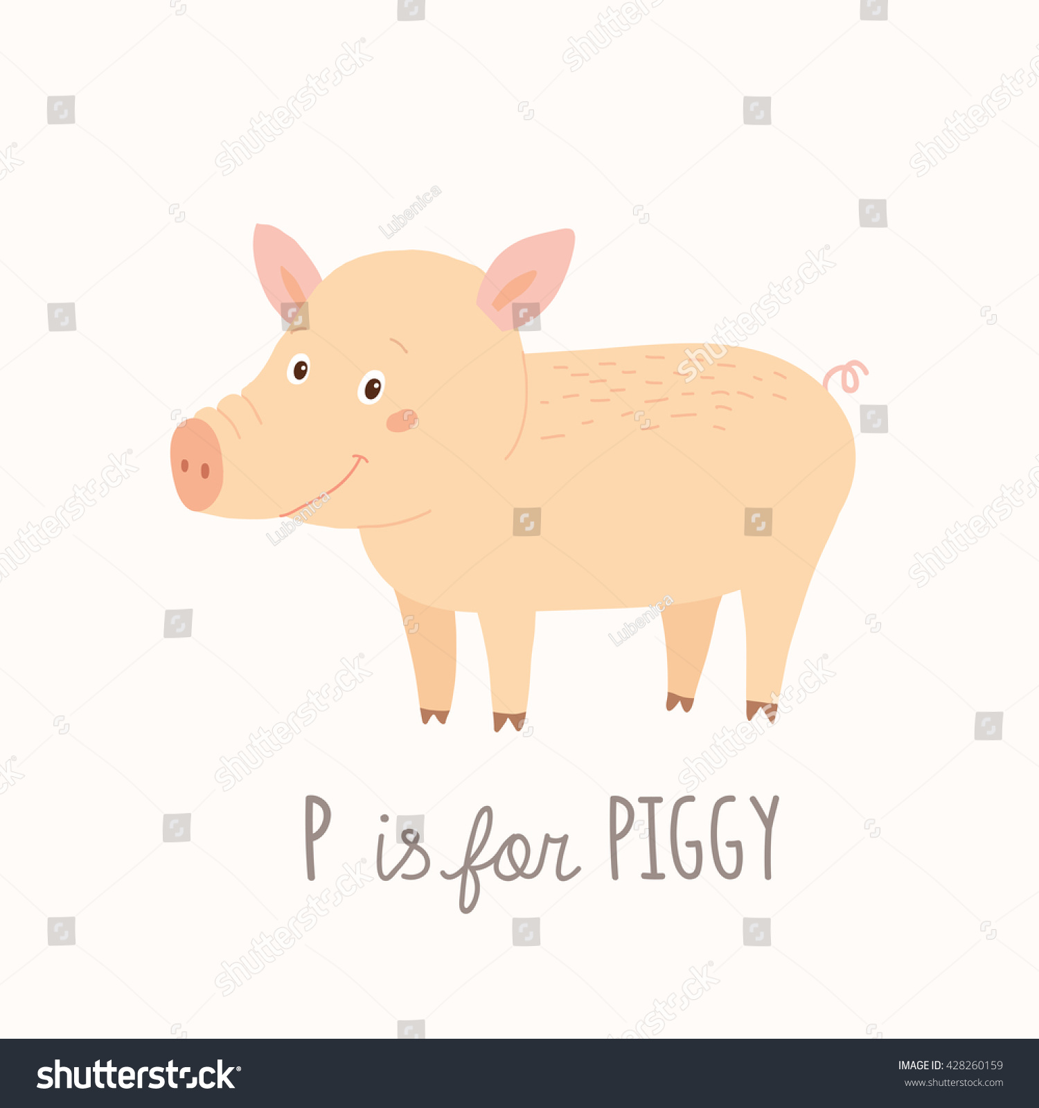 P is for Pig. ABC Kids Wall Art. Farm Alphabet Card. Nursery ...