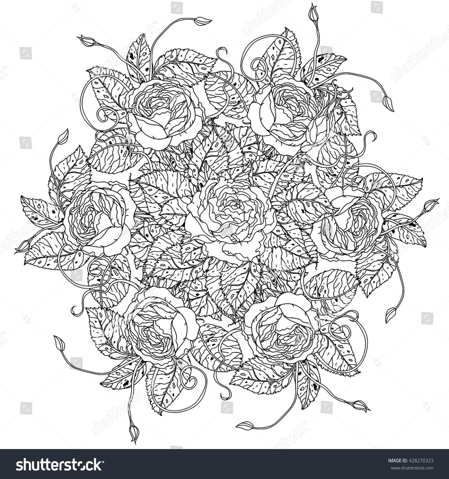 Luxury Flowers Bouquet Shape Mandala Adult Stock Vector 428270323 ...
