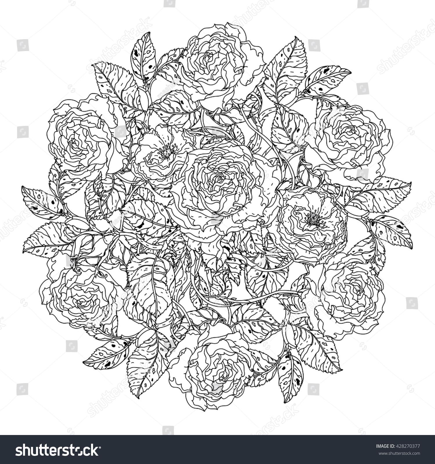 Luxury Flowers Bouquet Shape Mandala Adult Stock Vector 428270377 ...