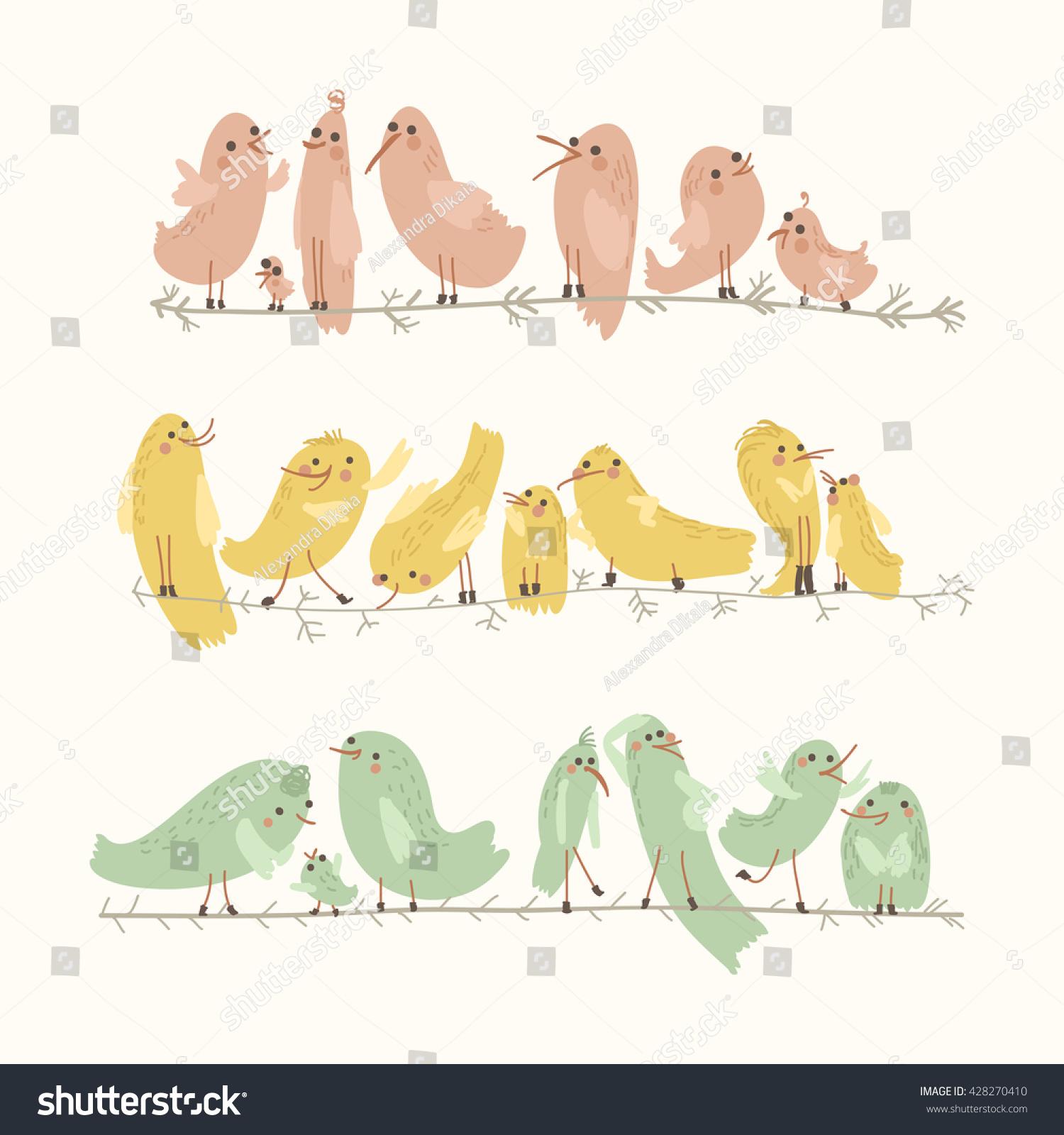 vector set cute birds cartoon collection stock vector 428270410