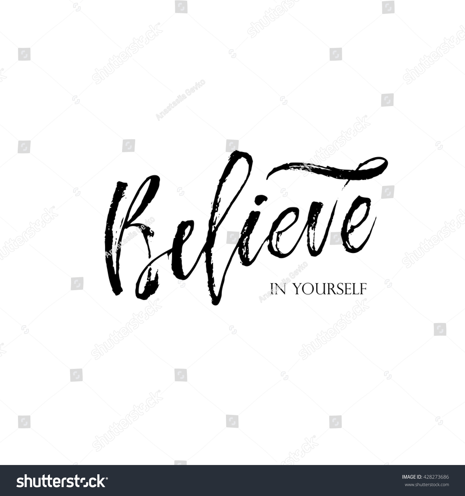 Believe In Yourself Lettering Card Inspirational And