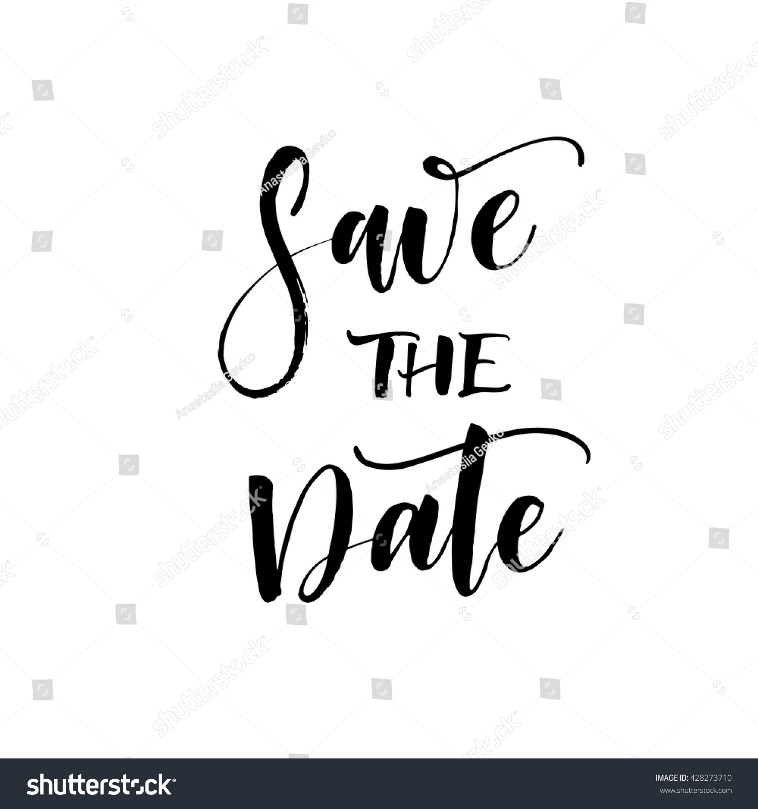 Save Date Card Hand Drawn Wedding Stock Vector 428273710
