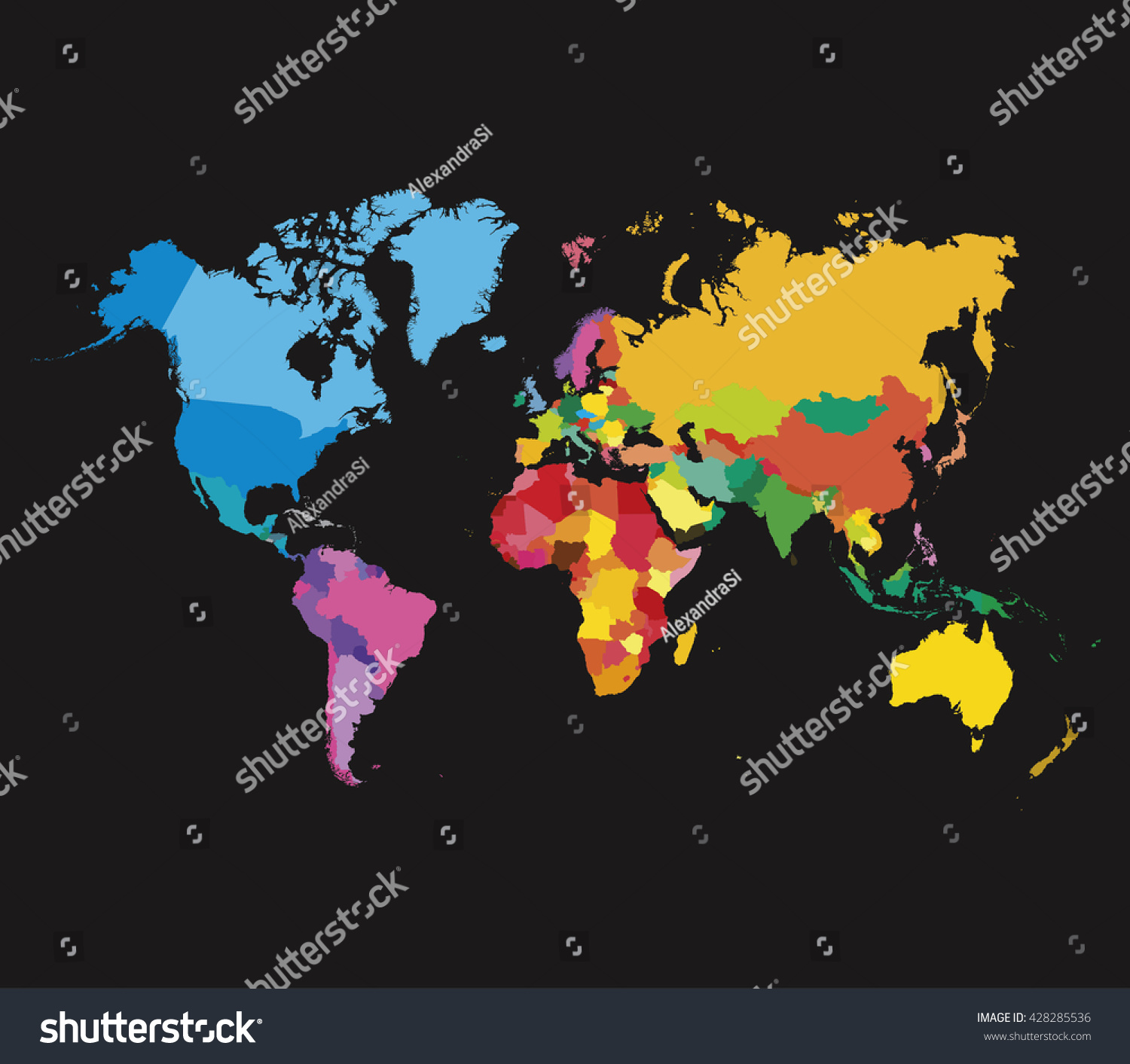 Color world map template vector flat vectores en stock 428285536 color world map template vector flat map gumiabroncs Gallery