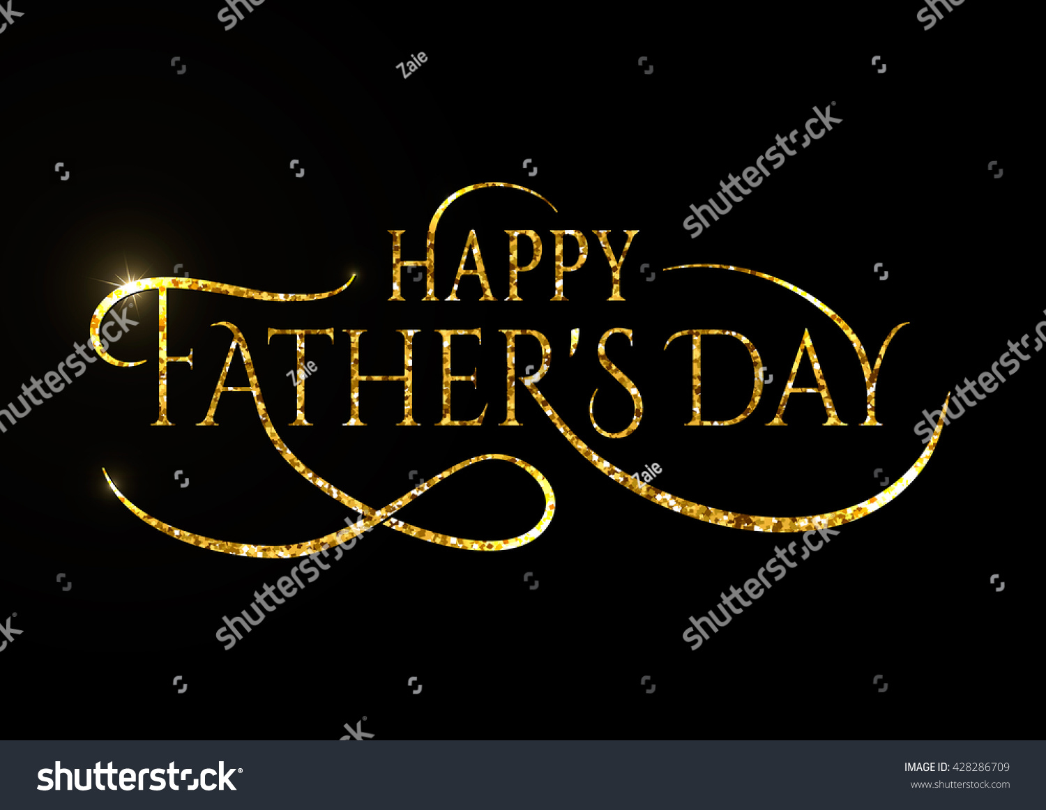 Happy Fathers Day Greeting Glitter Sign Stock Vector Royalty Free