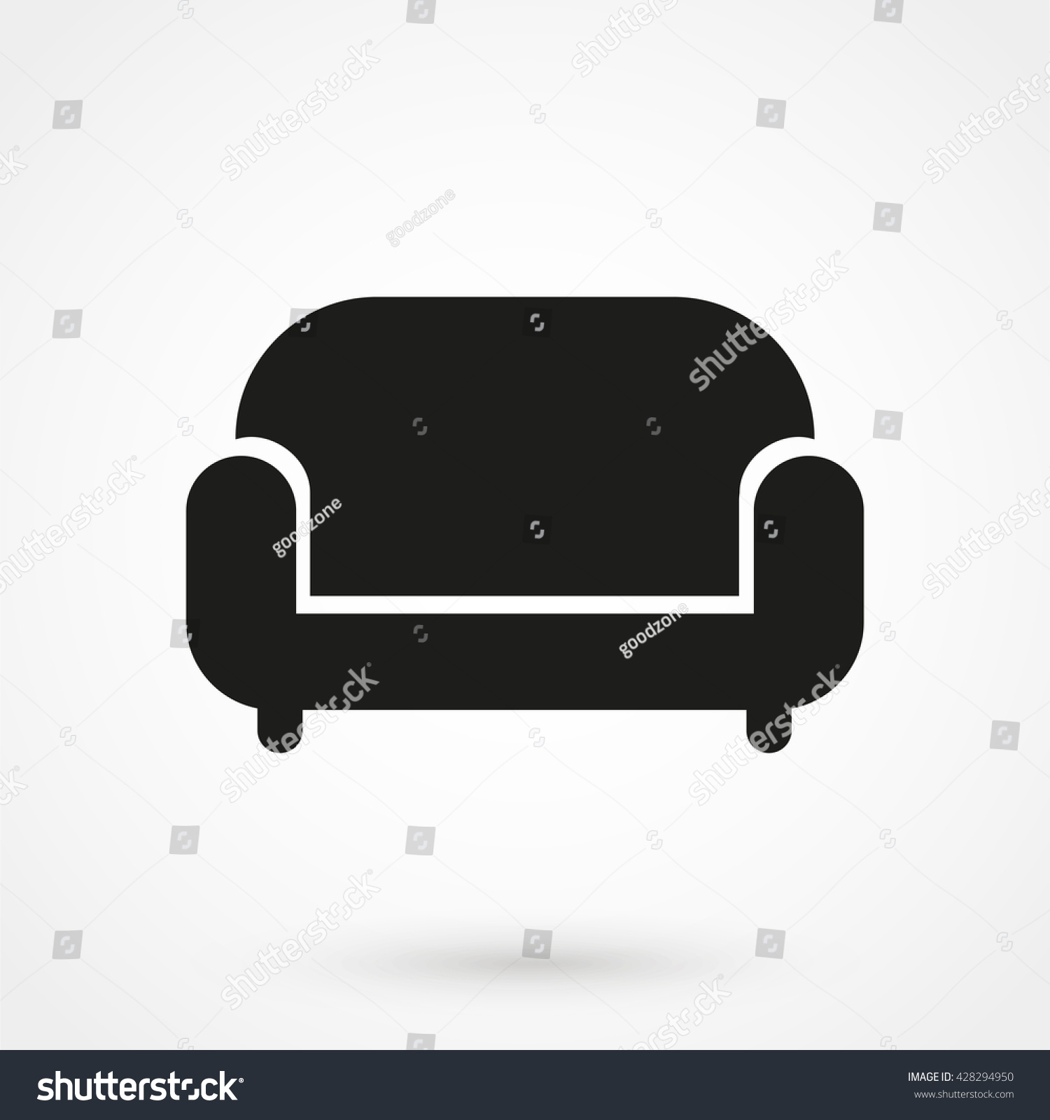 Flat modern design vector illustration concept of creative office room - Sofa Icon Isolated On Background Modern Stock Vector