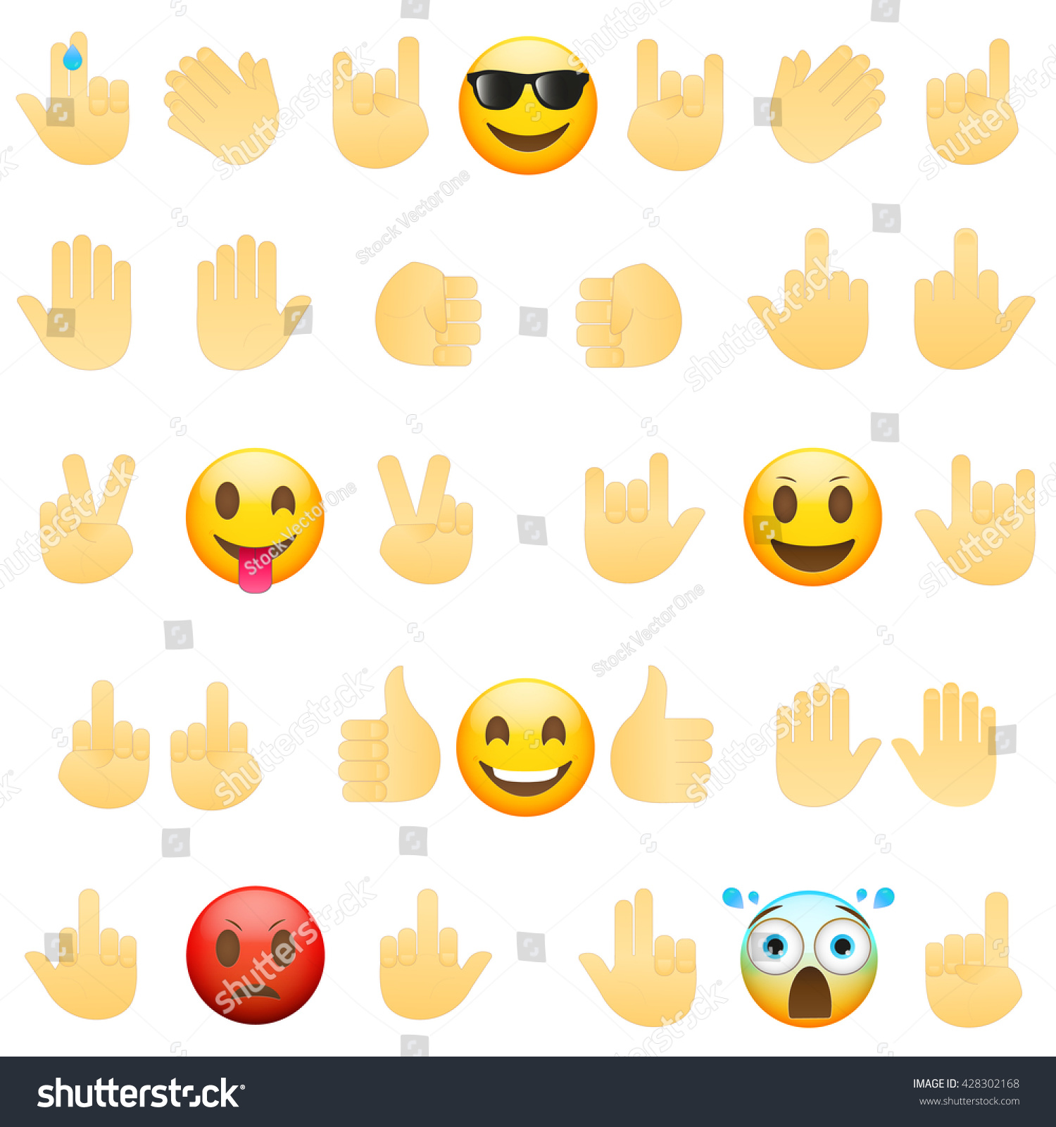 Emoticons faces hand icons isolated on stock vector 428302168 emoticons faces and hand icons isolated on white backgroundl emoji modern flat illustration buycottarizona Images