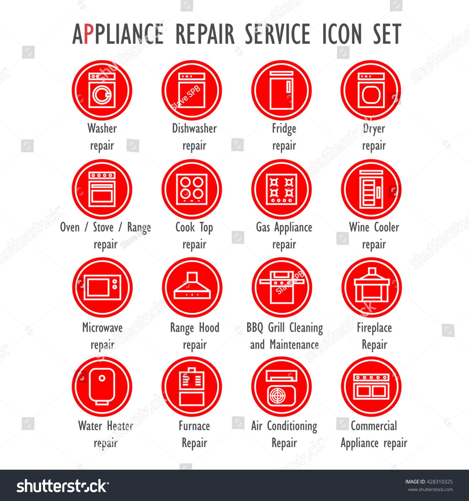 appliance repair service color vector icon stock vector 428310325