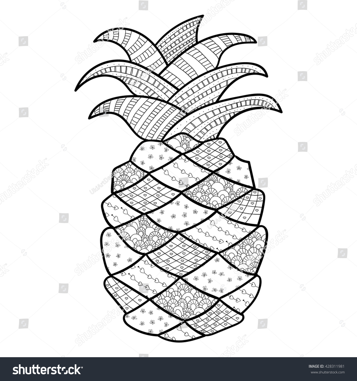 Adult Coloring Page Cute Pineapple Vector Stock Vector
