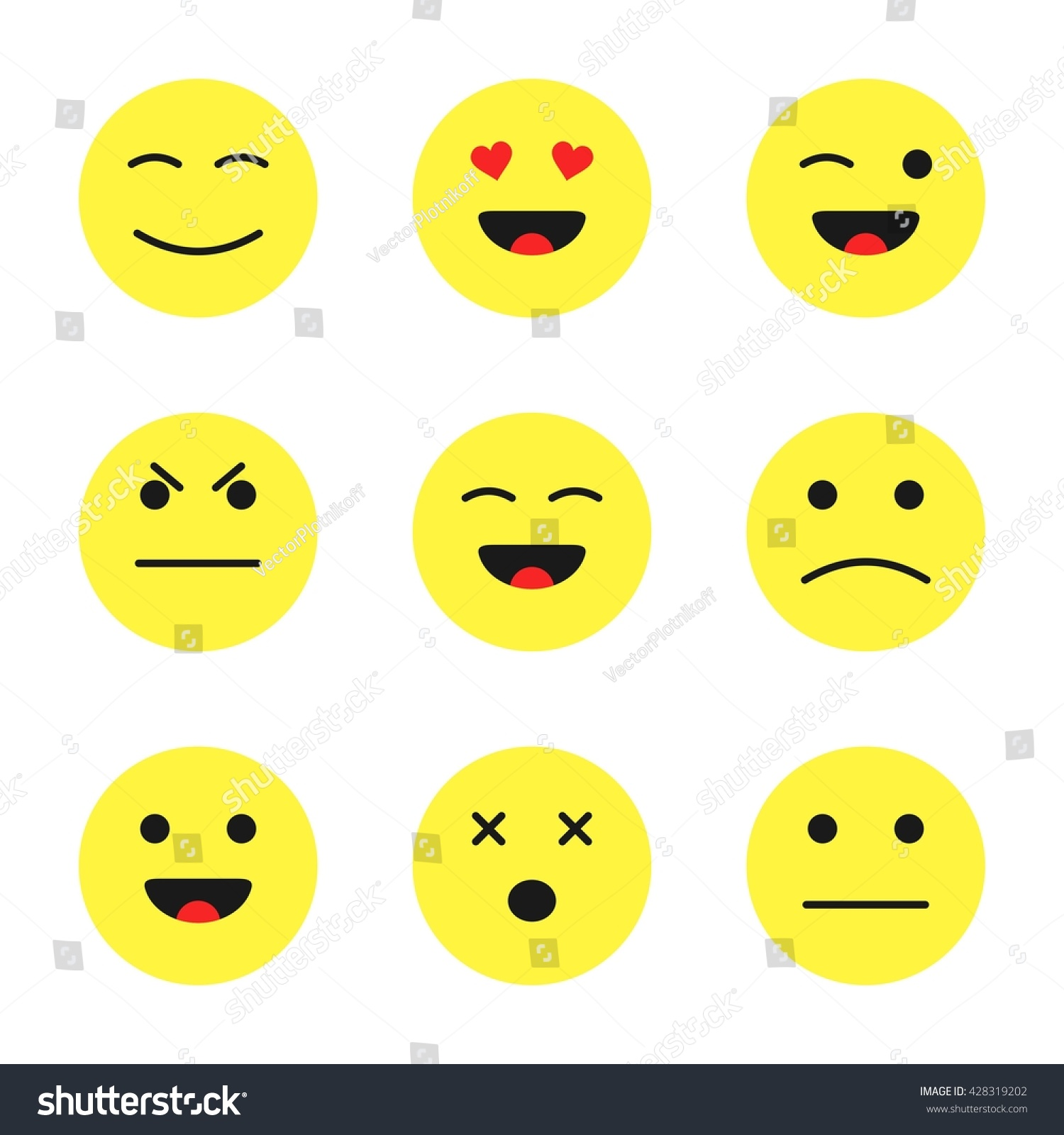 Set Cute Smiley Emoticons Cartoon Flat Stock Vector Royalty Free